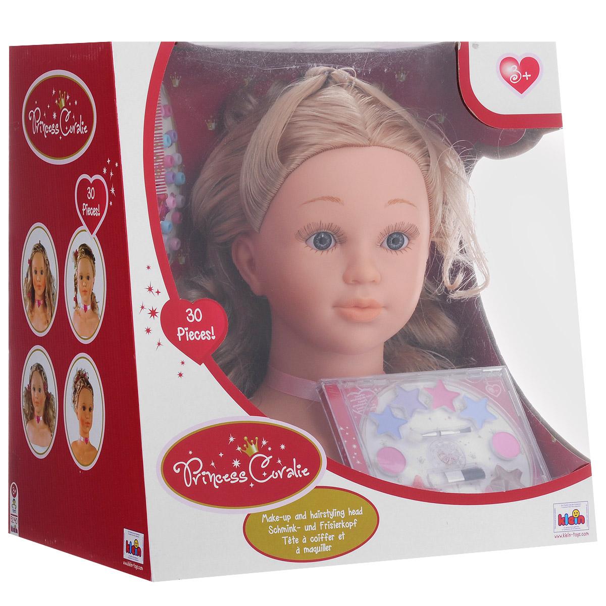 Игровой набор Klein Princess Coralie. Модель для макияжа и причесок, 30 предметов5240Игровой набор Klein Princess Coralie. Модель для макияжа и причесок непременно понравится вашей малышке! Набор включает торс куклы с длинными светлыми волосами, расческу, гребешок, 2 заколки-зажима, 7 крабиков, заплетенную в косичку прядь волос голубого цвета, 14 маленьких заколочек, специальную насадку для закрепления их на волосах, а также пластиковый футляр с детской косметикой: 2 румянами, 4 тенями, 4 блесками для губ, 2 двусторонними аппликаторами. Ваша малышка часами будет играть с этим набором, устраивая дома свою парикмахерскую. Порадуйте ее таким замечательным подарком!