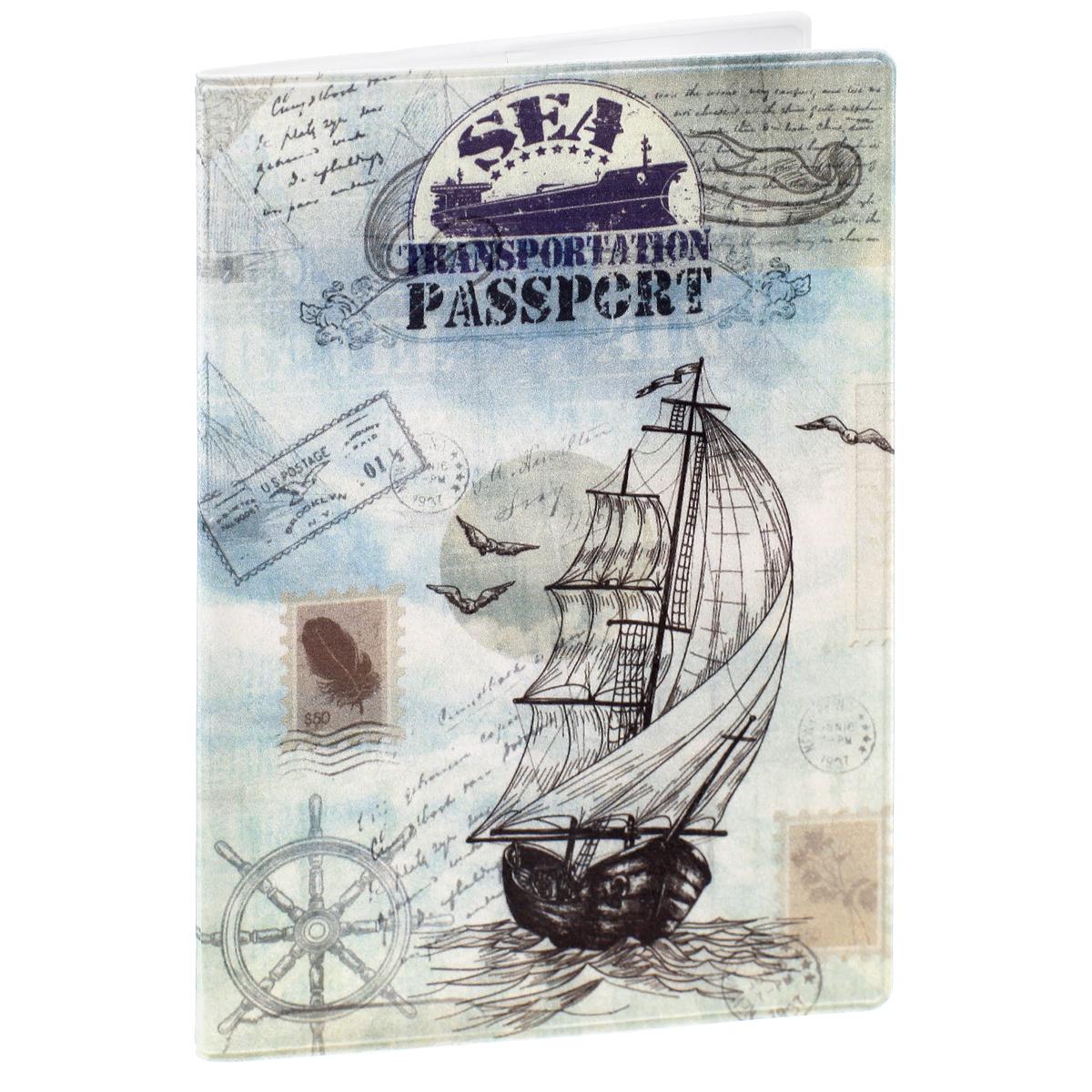 Обложка для паспорта Паруса, цвет: серый, голубой. 3240232402Обложка для паспорта Паруса не только поможет сохранить внешний вид ваших документов и защитить их от повреждений, но и станет стильным аксессуаром, идеально подходящим вашему образу. Обложка выполнена из поливинилхлорида и оформлена оригинальным изображением парусника, плывущего по волнам. Внутри имеет два вертикальных кармана из прозрачного пластика. Такая обложка поможет вам подчеркнуть свою индивидуальность и неповторимость!