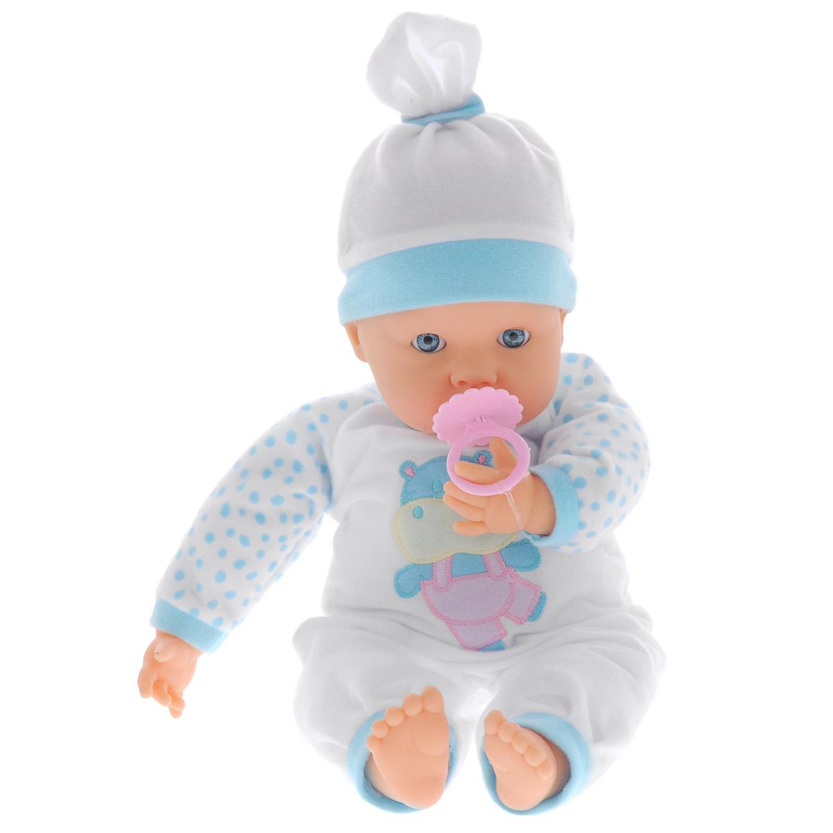Интерактивный пупс Falca Lloron Pleureur, цвет: белый, голубой, 38 см36660Интерактивный пупс Falca Lloron Pleureur выглядит и ведет себя, как настоящий ребенок. Тело малыша мягконабивное, ручки, ножки и головка - пластиковые. Пупс одет в бело-голубой комбинезончик, оформленный веселой аппликацией, на голове - шапочка в тон ему. В комплект с пупсом входит соска. Когда пупс ложиться спать, он всегда закрывает глазки. Если забрать у малыша любимую соску, он начнет плакать. Игра с пупсом разовьет в вашей малышке фантазию и любознательность, поможет овладеть навыками общения и научит ролевым играм, воспитает чувство ответственности и заботы. Порадуйте ее таким замечательным подарком! Необходимо докупить 2 батарейки напряжением 1,5V типа АА (не входят в комплект).