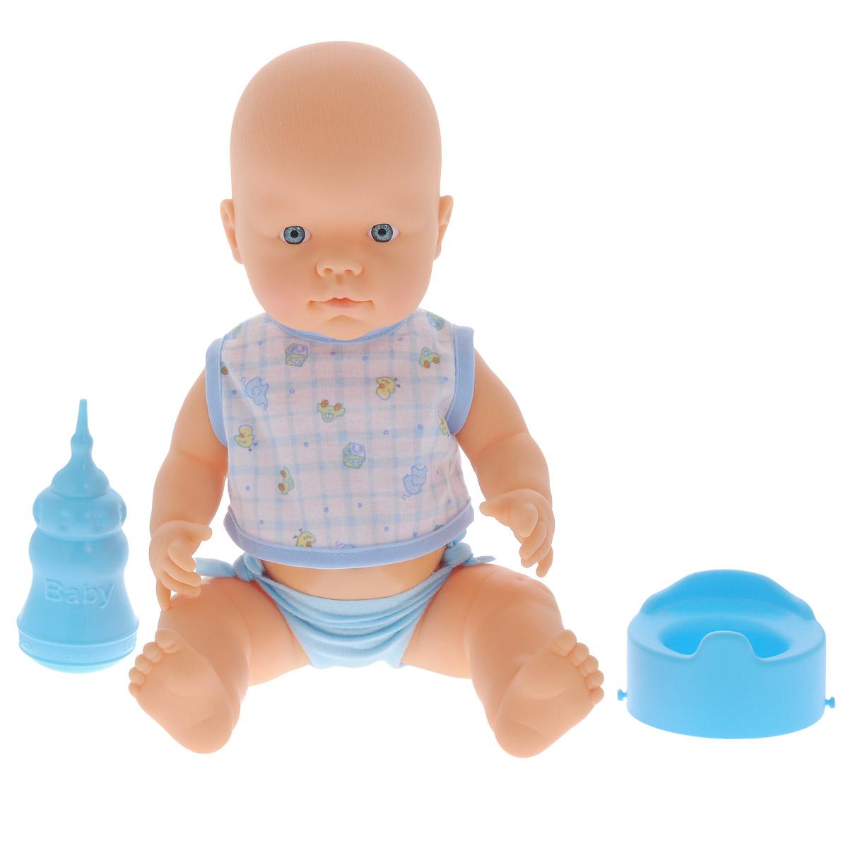 Кукла-пупс Falca Baby Pipi, с аксессуарами, цвет: голубой, белый, 40 см39525/39007_гол_гол_горшокКукла-пупс Falca Baby Pipi порадует вашу малышку и доставит ей много удовольствия от часов, посвященных игре с ней. Кукла выглядит как настоящий малыш. Пупс одет в майку на липучке и трусики. В набор также входят бутылочка для кормления и горшок. Кукла не только пьет водичку из бутылочки, но и писает в горшок, чем еще более похожа на настоящего ребенка. После кормления и туалета пупса можно искупать. Игра с куклой разовьет в вашей малышке чувство ответственности и заботы. Порадуйте свою принцессу таким великолепным подарком!
