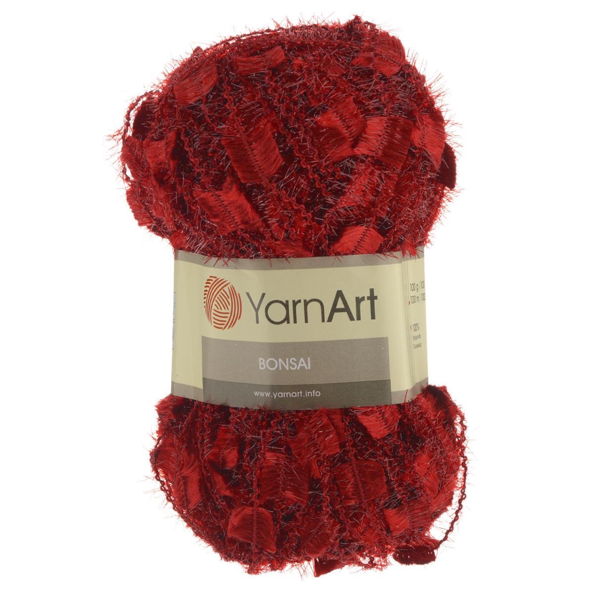 Пряжа для вязания YarnArt Bonsai, цвет: красный (409), 100 м, 100 г, 5 шт372075_409Фантазийная пряжа для вязания YarnArt Bonsai яркая и оригинальная. Из такой пряжи можно вязать изделие целиком или использовать для отделки. В основном вяжут из таких ниток нарядные вещи - болеро, блузки, топики, платья, юбки, пуловеры и т. д. В настоящее время вязание плотно вошло в нашу жизнь, причем не столько в виде привычных свитеров, сколько в виде оригинальных, изящных моделей из самой разнообразной пряжи. Поэтому так важно подобрать именно ту пряжу, которая позволит вам связать даже самую сложную и необычную модель изделия. Комплектация: 5 мотков. Состав: 100% полиамид. Рекомендована ручная стирка до 30°C. Рекомендованные спицы 8 мм, крючок 9 мм.