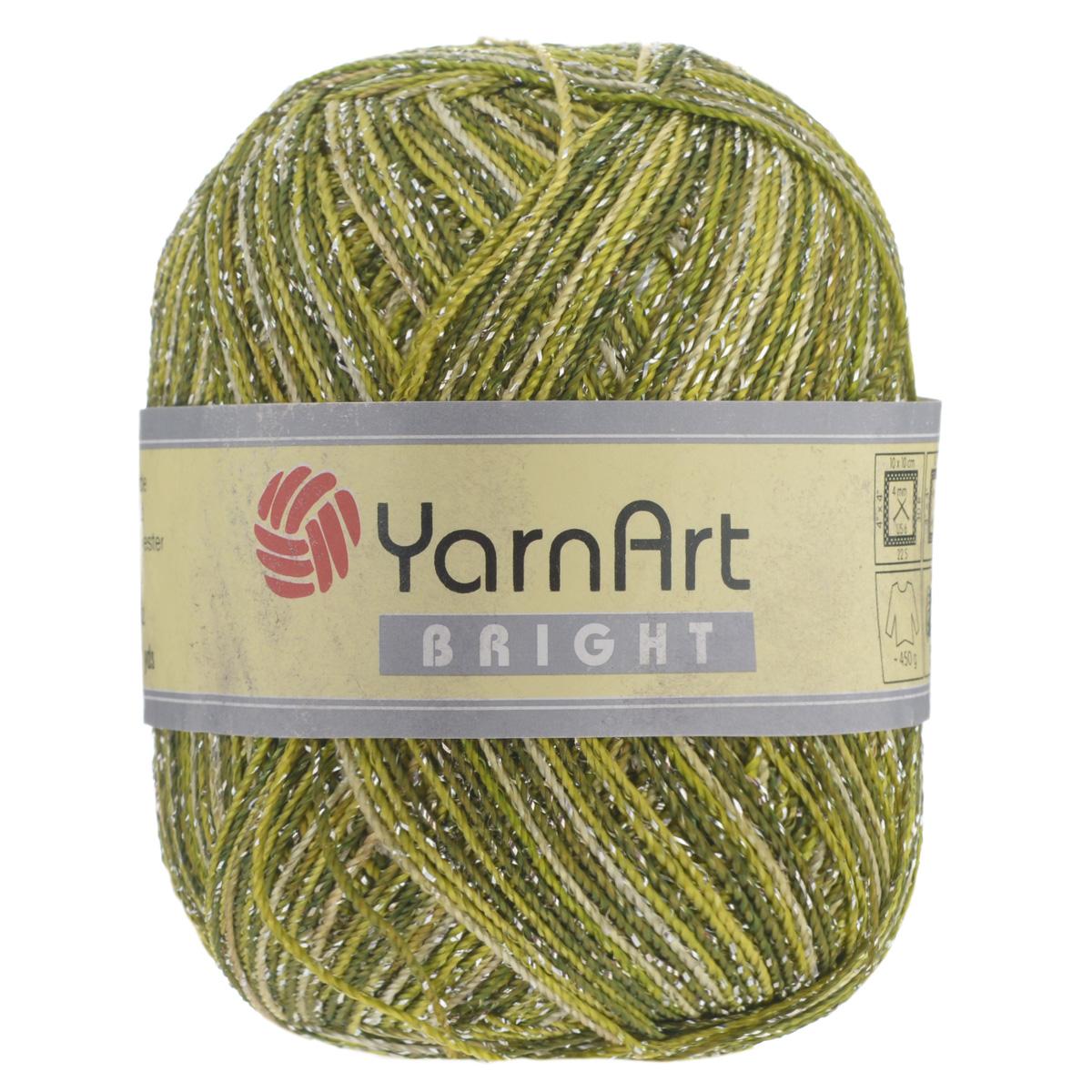 Пряжа для вязания YarnArt Bright, цвет: зеленый, темно-зеленый (208), 340 м, 90 г, 6 шт372010_208С фантазийной пряжей YarnArt Bright с металлизированным полиэстером вязаные изделия приобретут оригинальный вид. Из такой пряжи можно вязать изделие целиком или использовать ее для отделки. В основном вяжут из таких ниток нарядные вещи - болеро, блузки, топики, платья, юбки, пуловеры и т. д. В настоящее время вязание плотно вошло в нашу жизнь, причем не столько в виде привычных свитеров, сколько в виде оригинальных, изящных моделей из самой разнообразной пряжи. Поэтому так важно подобрать именно ту пряжу, которая позволит вам связать даже самую сложную и необычную модель изделия. Комплектация: 6 мотков. Состав: 80% полиэстер, 20% металлизированный полиэстер. Допускается машинная стирка 40°C. Рекомендованы спицы и крючок 4 мм.