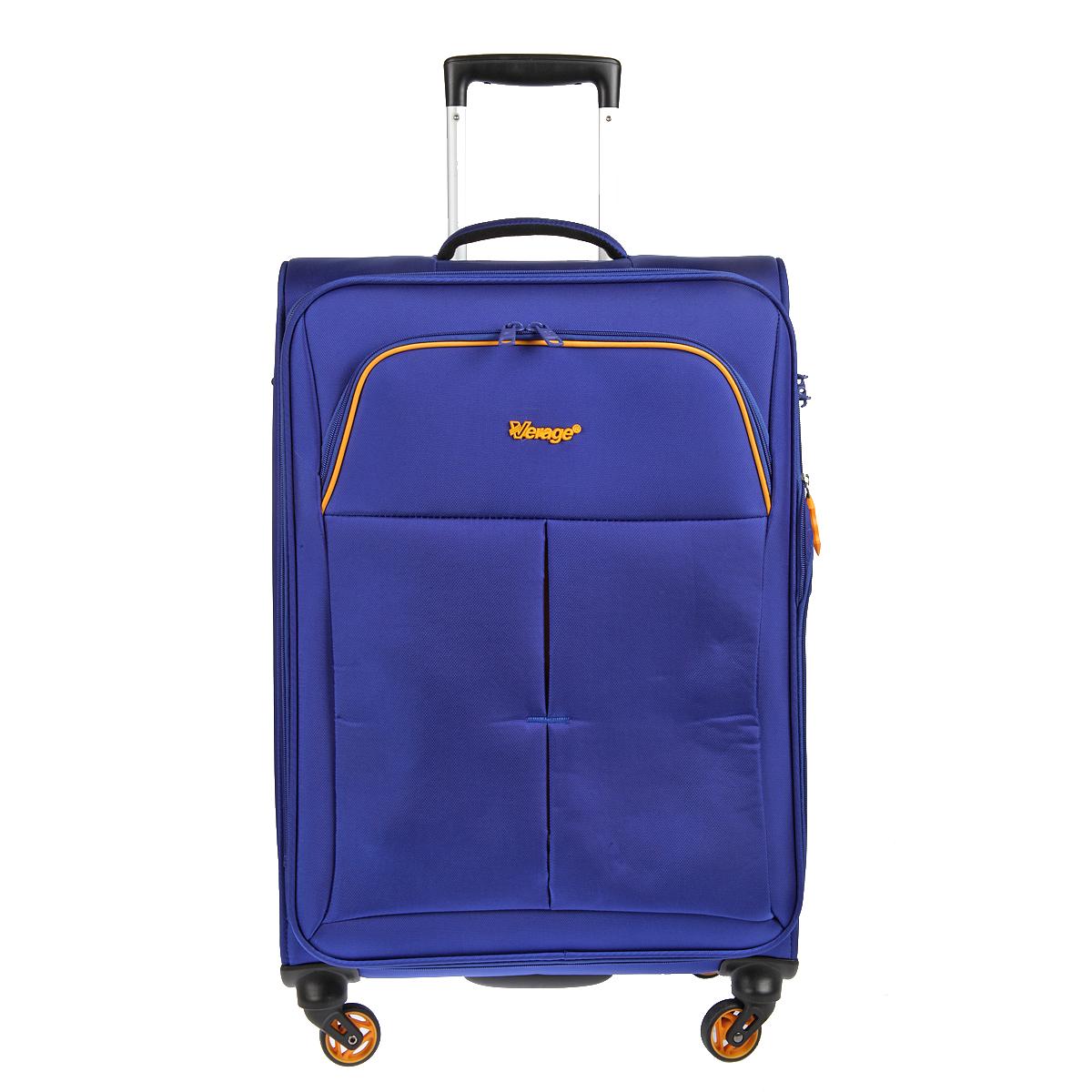 Чемодан-тележка Verage, цвет: синий, 58 л. GM14040w 24GM14040w 24 blueЧемодан-тележка Verage оснащен четырьмя колесиками 360°, верхней мягкой ручкой. Закрывается по периметру на двухстороннюю молнию. Сбоку и сверху расположены ручки, обеспечивающие удобство транспортировки. Внутри один отдел для одежды и один сетчатый карман на молнии. Снаружи на передней стенке карман на молнии. Возможность увеличения чемодана на 20% (за счет молнии). Встроенный кодовый замок с функцией TSA Также имеется выдвижная ручка, максимальная высота 47 см.
