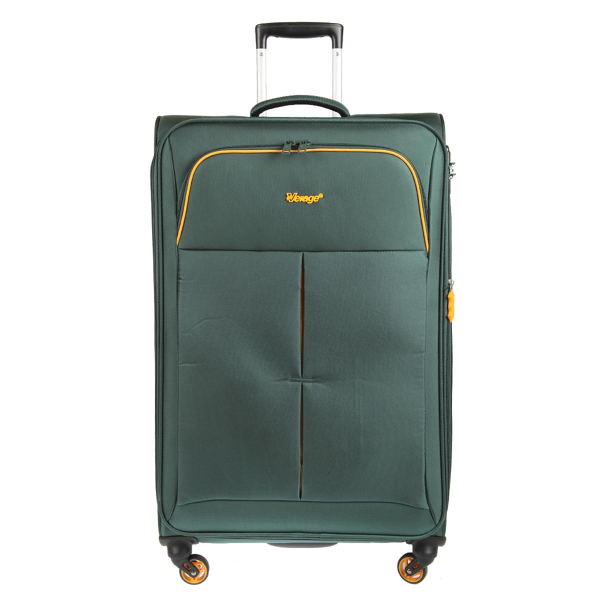 Чемодан-тележка Verage, цвет: темно-зеленый, 95 л. GM14040w 28GM14040w 28 dark greenЧемодан-тележка Verage оснащен четырьмя колесиками 360°, верхней мягкой ручкой. Закрывается по периметру на двухстороннюю молнию. Сбоку и сверху расположены ручки, обеспечивающие удобство транспортировки. Внутри один отдел для одежды и один сетчатый карман на молнии. Снаружи на передней стенке карман на молнии. Возможность увеличения чемодана на 20% (за счет молнии). Встроенный кодовый замок с функцией TSA. Также имеется выдвижная ручка, максимальная высота 37 см.