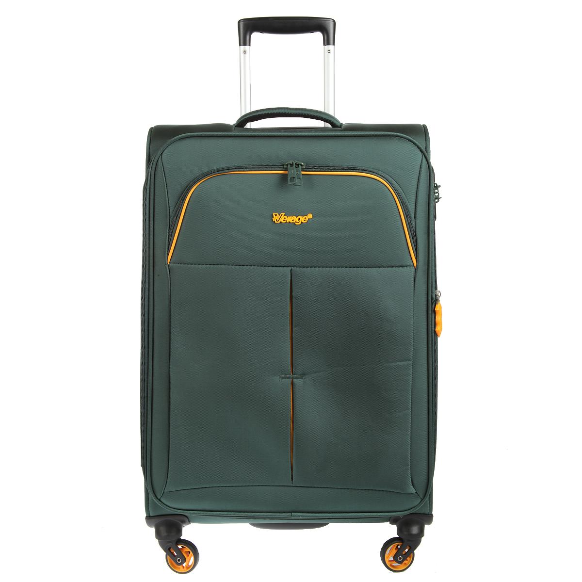 Чемодан-тележка Verage, цвет: темно-зеленый, 58 л. GM14040w 24GM14040w 24 dark greenЧемодан-тележка Verage оснащен четырьмя колесиками 360°, верхней мягкой ручкой. Закрывается по периметру на двухстороннюю молнию. Сбоку и сверху расположены ручки, обеспечивающие удобство транспортировки. Внутри один отдел для одежды и один сетчатый карман на молнии. Снаружи на передней стенке карман на молнии. Возможность увеличения чемодана на 20% (за счет молнии). Встроенный кодовый замок с функцией TSA Также имеется выдвижная ручка, максимальная высота 47 см.