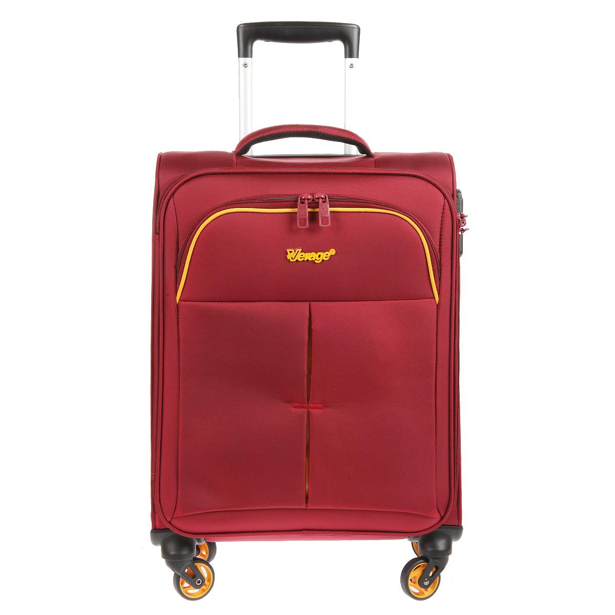 Чемодан-тележка Verage, цвет: бордовый, 30 л. GM14040w 18.5GM14040w 18.5 burgundyЧемодан-тележка Verage оснащен четырьмя колесиками, вращающимися на 360°. Закрывается по периметру на двухстороннюю молнию. Сверху расположена мягкая ручка для удобства временного переноса. Внутри один отдел для одежды, который фиксируется эластичными резинками на застежках. Также внутри расположен один сетчатый карман на застежке-молнии. Снаружи на передней стенке карман на застежке-молнии. Оснащен встроенным кодовым замком с функцией TSA. Имеется телескопическая ручка, максимальная высота которой 51 см.
