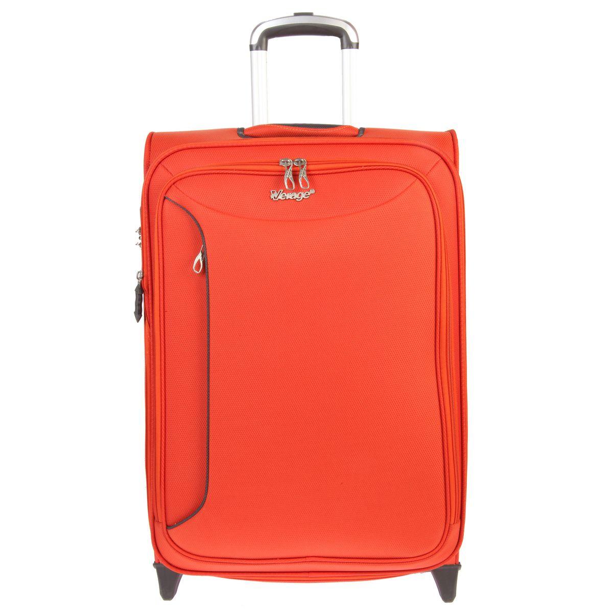 Чемодан-тележка Verage, цвет: оранжевый, 58 л. GM12091T 24GM12091T 24 orangeЧемодан-тележка Verage оснащен верхней ручкой и двумя колесиками для удобства транспортировки. Закрывается по периметру на двухстороннюю молнию. Внутри один отдел для одежды и один сетчатый карман на молнии. Снаружи на передней стенке расположены два кармана на молнии. За счет молнии возможно увеличить объем на 20%. Имеется дополнительно встроенный кодовый замок с функцией TSA. Сверху также расположена выдвижная ручка высотой 46 см.