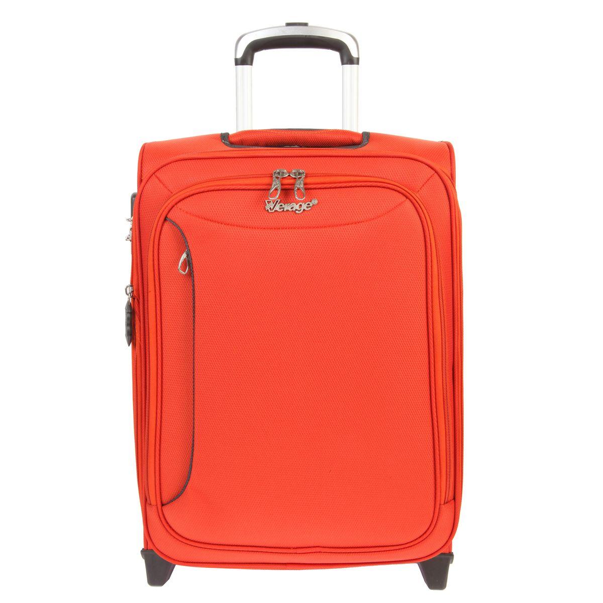 Чемодан-тележка Verage, цвет: оранжевый, 31 л. GM12091T 20GM12091T 20 orangeЧемодан-тележка Verage оснащен верхней ручкой и двумя колесиками для удобства транспортировки. Закрывается по периметру на двухстороннюю молнию. Внутри один отдел для одежды и один сетчатый карман на молнии. Снаружи на передней стенке расположены два кармана на молнии. За счет молнии возможно увеличить объем на 20%. Имеется дополнительно встроенный кодовый замок с функцией TSA. Сверху также расположена выдвижная ручка высотой 58 см.