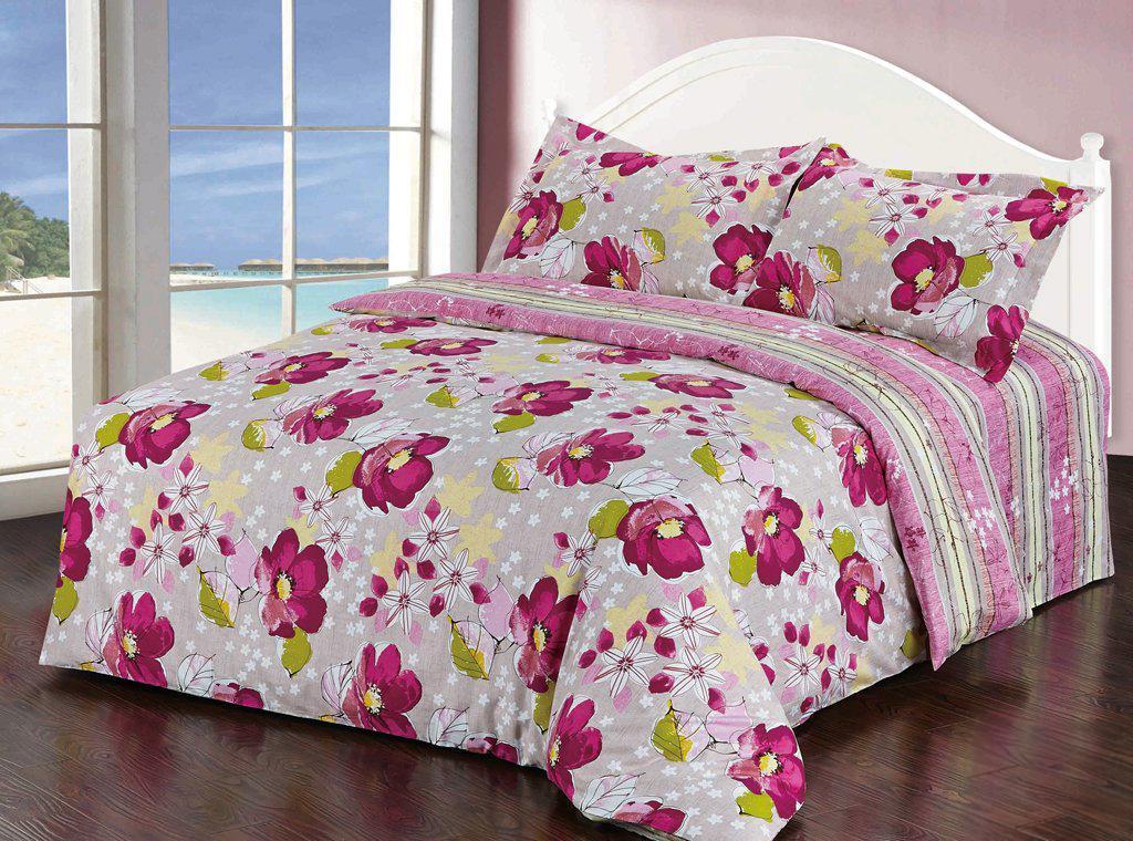 Комплект белья Soft Line, 2-спальный, наволочки 50х70, цвет: белый, розовый. 1030310303Комплект белья Soft Line, выполненный из сатина (100% хлопок), состоит из пододеяльника, простыни и двух наволочек. Изделия оформлены ярким принтом. Постельное белье из сатина очень прочное и долговечное. Такой комплект выдержит многократное количество стирок, а яркие цвета не начнут тускнеть очень продолжительное время. Сатин практически не мнется, не электризуется, великолепно впитывает влагу и отлично вентилируется.