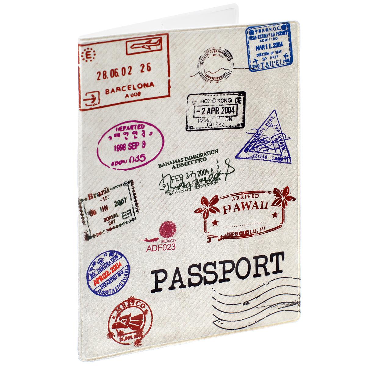 Обложка для паспорта Почтовые штампы, цвет: бежевый. 3239832398Обложка для паспорта Почтовые штампы не только поможет сохранить внешний вид ваших документов и защитить их от повреждений, но и станет стильным аксессуаром, идеально подходящим вашему образу. Обложка выполнена из поливинилхлорида и оформлена оригинальным изображением почтовых штампов. Внутри имеет два вертикальных кармана из прозрачного пластика. Такая обложка поможет вам подчеркнуть свою индивидуальность и неповторимость!