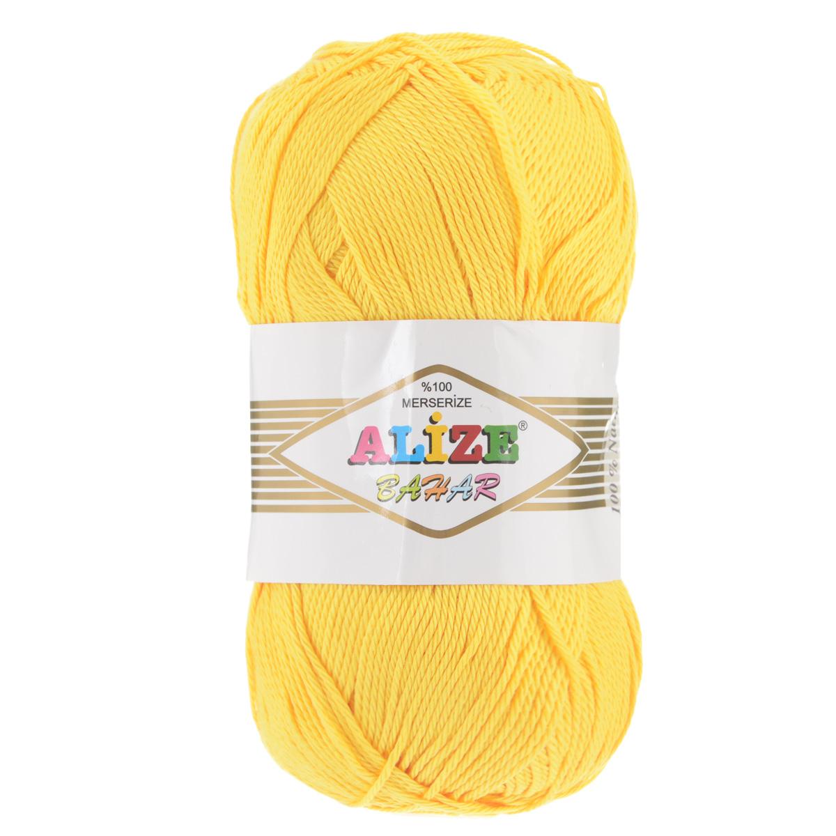 Пряжа для вязания Alize Bahar, цвет: желтый (216), 260 м, 100 г, 5 шт364089_216Пряжа Alize Bahar подходит для ручного вязания детям и взрослым. Пряжа однотонная, приятная на ощупь, хорошо лежит в полотне. Изделия из такой нити получаются мягкие и красивые. Рекомендованные спицы 3-5 мм и крючок для вязания 2-4 мм. Комплектация: 5 мотков. Состав: 100% хлопок.