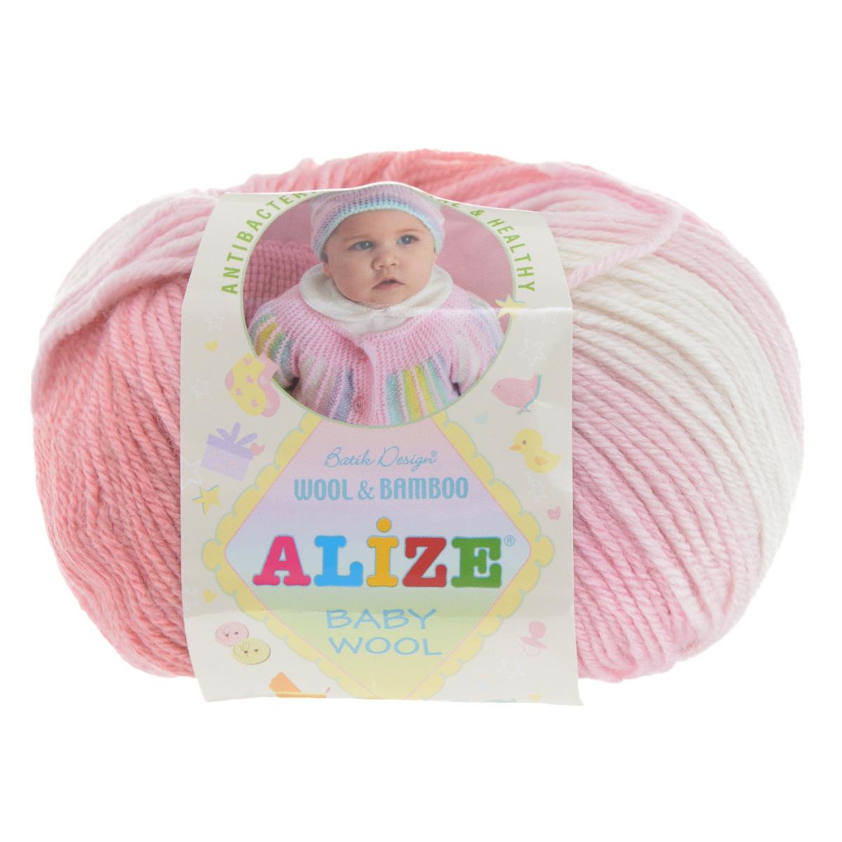 Пряжа для вязания Alize Baby Wool, цвет: розовый, белый (3), 175 м, 50 г, 10 шт372104_3Детская пряжа для вязания Baby Wool изготовлена из очень мягкой и высококачественной натуральной шерсти и бамбука. Из пряжи Baby Wool получается тонкий, но очень теплый трикотаж для ребенка. Мягкая и красивая нить в процессе вязания превращается в оригинальный узор. Акрил в составе нитей допускает легкую машинную стирку вещей. Цветовая палитра включает в себя цветовые комбинации, которые подходят как для мальчиков, так и для девочек. Комплектация: 10 мотков. Состав: 40% шерсть, 40% акрил, 20% бамбук.