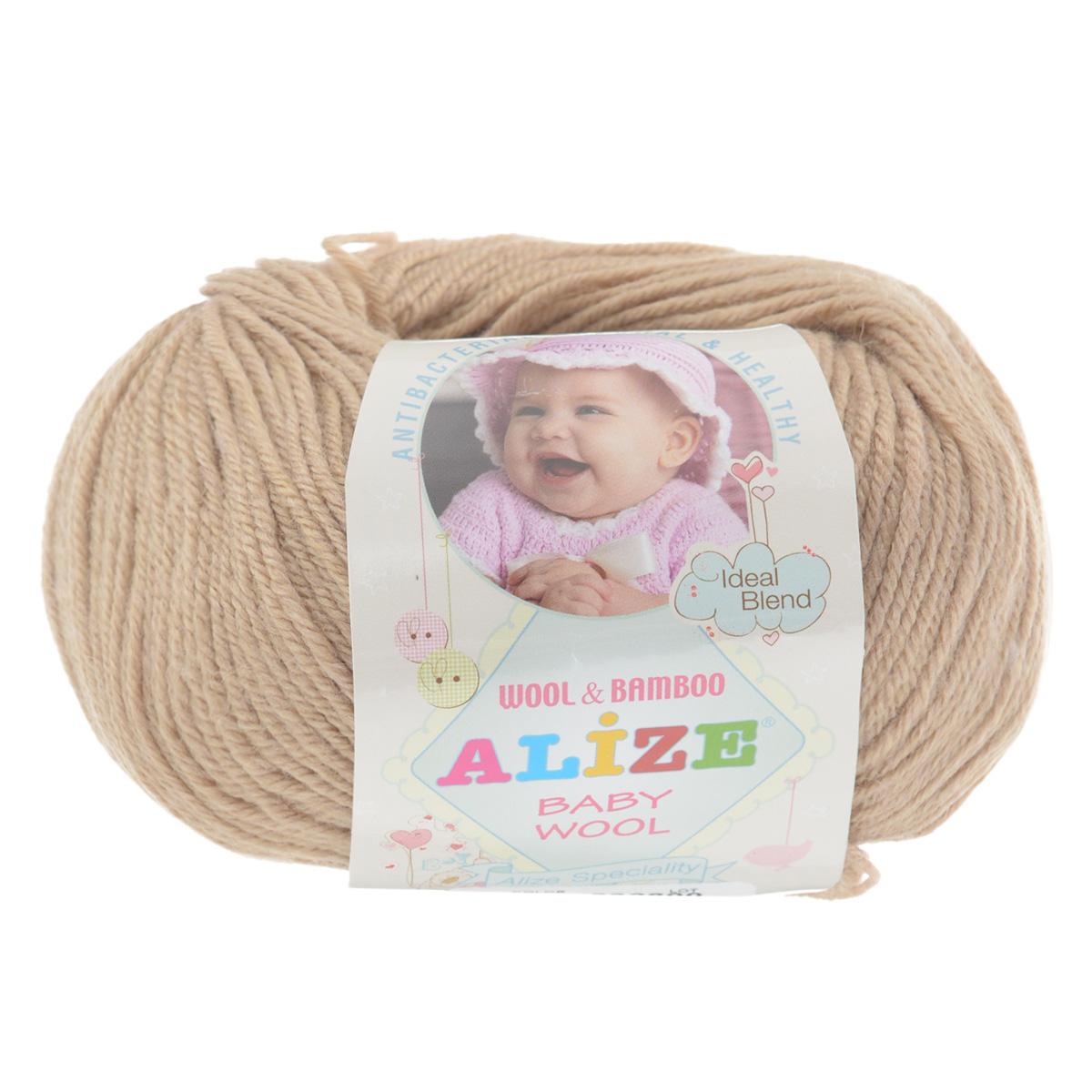 Пряжа для вязания Alize Baby Wool, цвет: светло-коричневый (75), 175 м, 50 г, 10 шт686501_75Детская пряжа для вязания Baby Wool изготовлена из очень мягкой и высококачественной натуральной шерсти и бамбука. Из пряжи Baby Wool получается тонкий, но очень теплый трикотаж для ребенка. Акрил в составе нитей допускает легкую машинную стирку вещей. Цветовая палитра включает в себя цветовые комбинации, которые подходят как для мальчиков, так и для девочек. Комплектация: 10 мотков. Состав: 40% шерсть, 40% акрил, 20% бамбук.