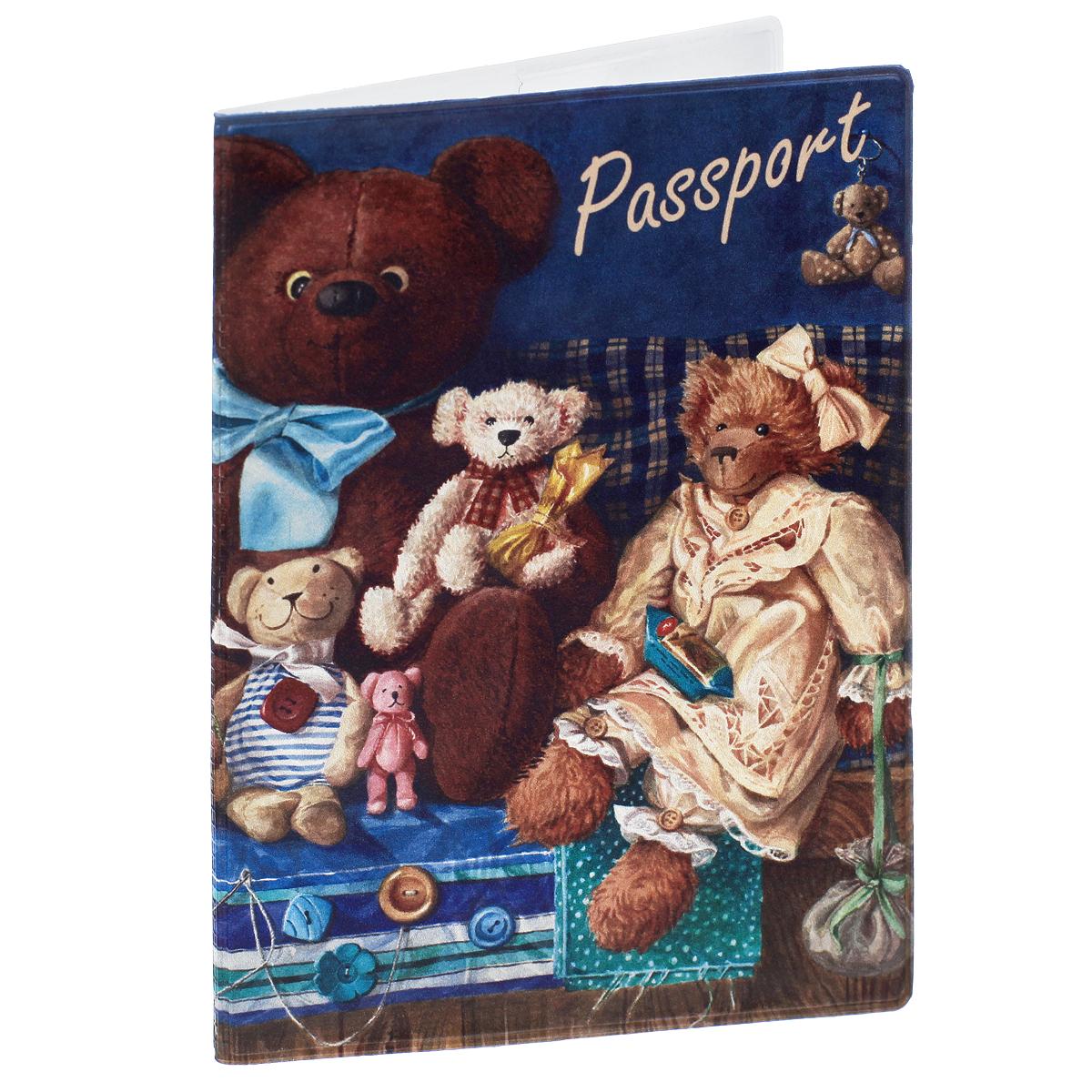 Обложка для паспорта Медведи, цвет: коричневый. 3567835678Обложка для паспорта Медведи не только поможет сохранить внешний вид ваших документов и защитить их от повреждений, но и станет стильным аксессуаром, идеально подходящим вашему образу. Обложка выполнена из поливинилхлорида и оформлена оригинальным изображением плюшевых медведей. Внутри имеет два вертикальных кармана из прозрачного пластика. Такая обложка поможет вам подчеркнуть свою индивидуальность и неповторимость!