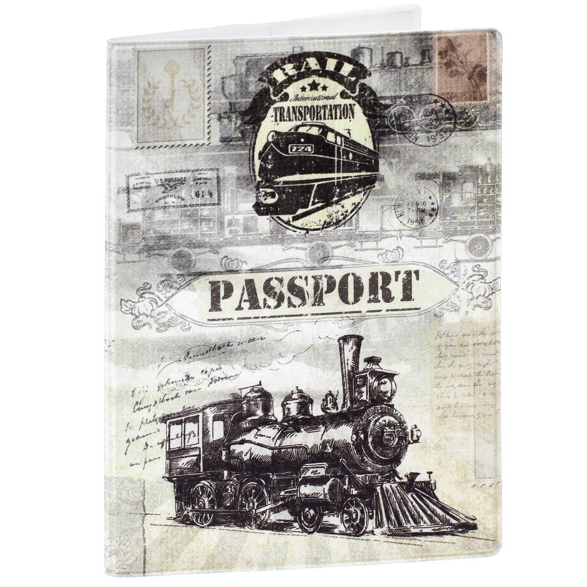 Обложка для паспорта Паровоз, цвет: серый. 2906029060Обложка для паспорта Паровоз не только поможет сохранить внешний вид ваших документов и защитить их от повреждений, но и станет стильным аксессуаром, идеально подходящим вашему образу. Обложка выполнена из поливинилхлорида и оформлена оригинальным изображением паровоза. Внутри имеет два вертикальных кармана из прозрачного пластика. Такая обложка поможет вам подчеркнуть свою индивидуальность и неповторимость!
