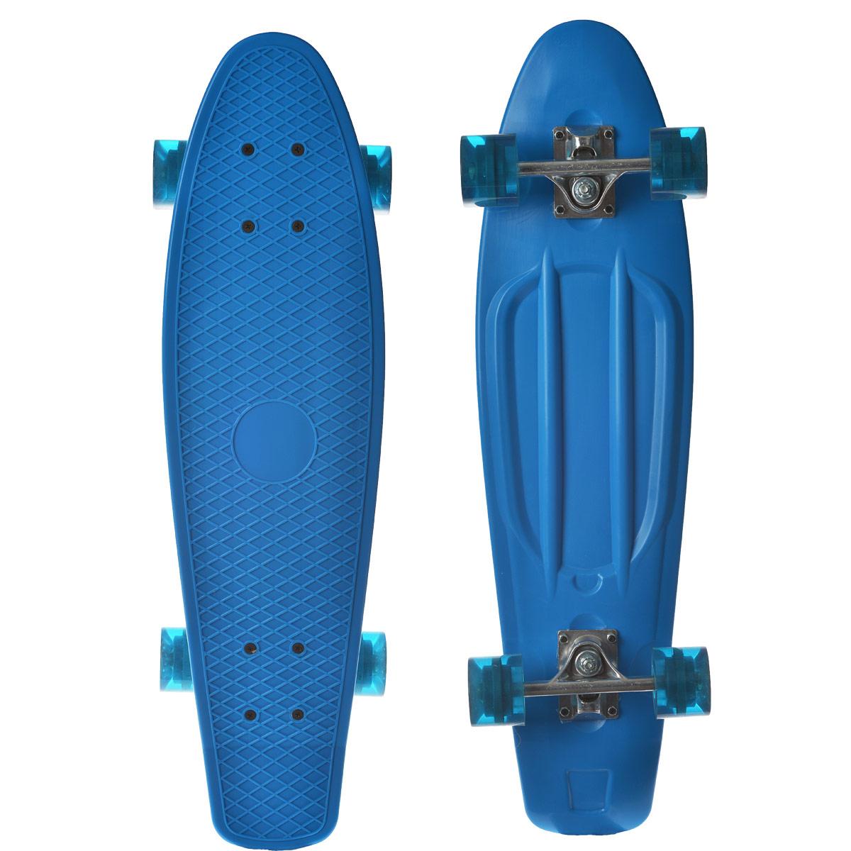 Скейтборд пластиковый Action, цвет: голубой, дека 71 см х 19 смPW-515Пенни борд Action - всеми любимый скейт с усиленной защитой. Эта простая модель без вычурных рисунков позволяет сосредоточиться исключительно на занятии спортом. Скейтборд купить можно подростку любого возраста или даже ребенку. Материал, из которого изготовлено изделие - усиленный пластик. Визуально верхняя часть изделия напоминает стопу. Антискользящая поверхность позволяет совершать любые трюки. Полиуретановые колеса помогут быстро набрать разгон и эффектно тормозить.