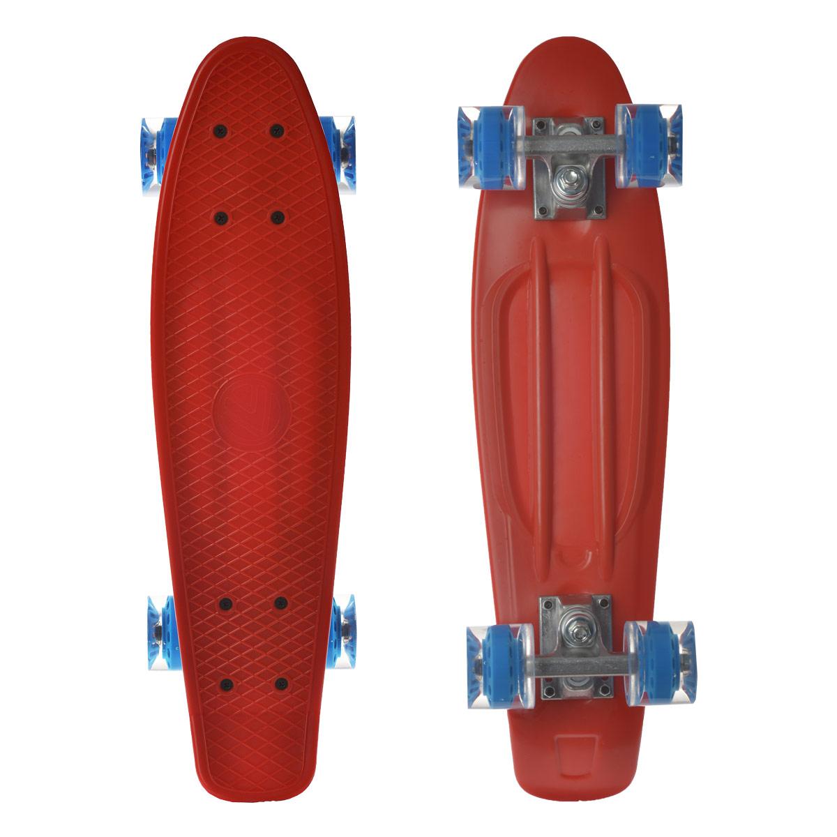 Скейтборд пластиковый Larsen, цвет: красный, дека 55 см х 15 см. BKA0020E333751Пенни борд Larsen подходит для начинающих райдеров и предназначен для уличного катания. Пенни борд имеет специальный выпуклый рисунок в виде сетки, предотвращающий скольжение. Дека выполнена из высококачественного пластика. Подвеска - из прочного алюминия. Высота скейтборда от пола - 10 см. Максимальный вес пользователя - 100 кг. Полиуретановые колеса обеспечивают хорошее сцепление с поверхностью, быстрый разгон и торможение. В последнее время экстремальные виды спорта, такие как катание на скейтборде, становятся очень популярными. Скейтбординг - это зрелищный и экстремальный вид спорта, представляющий собой катание на роликовой доске с преодолением препятствий и выполнением различных трюков.