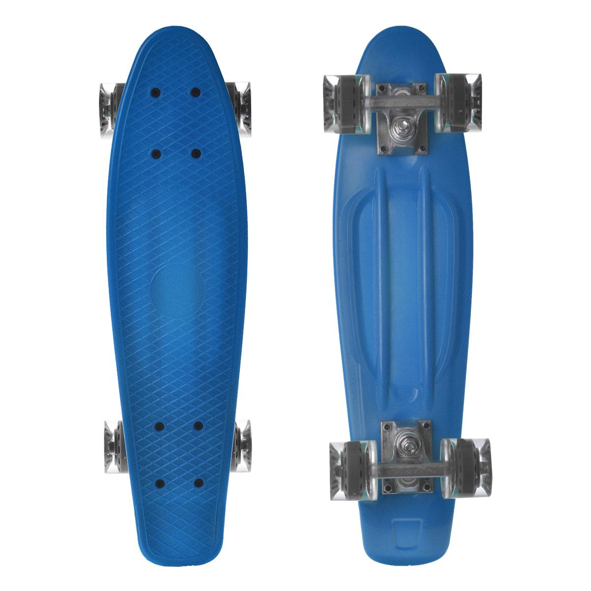 Скейтборд пластиковый Larsen, цвет: синий, 55 см х 15 см. BKA0020E333752Пенни борд Larsen подходит для начинающих райдеров и предназначен для уличного катания. Пенни борд имеет специальный выпуклый рисунок в виде сетки, предотвращающий скольжение. Дека выполнена из высококачественного пластика. Подвеска - из прочного алюминия. Высота скейтборда от пола - 10 см. Максимальный вес пользователя - 100 кг. Полиуретановые колеса обеспечивают хорошее сцепление с поверхностью, быстрый разгон и торможение. В последнее время экстремальные виды спорта, такие как катание на скейтборде, становятся очень популярными. Скейтбординг - это зрелищный и экстремальный вид спорта, представляющий собой катание на роликовой доске с преодолением препятствий и выполнением различных трюков.