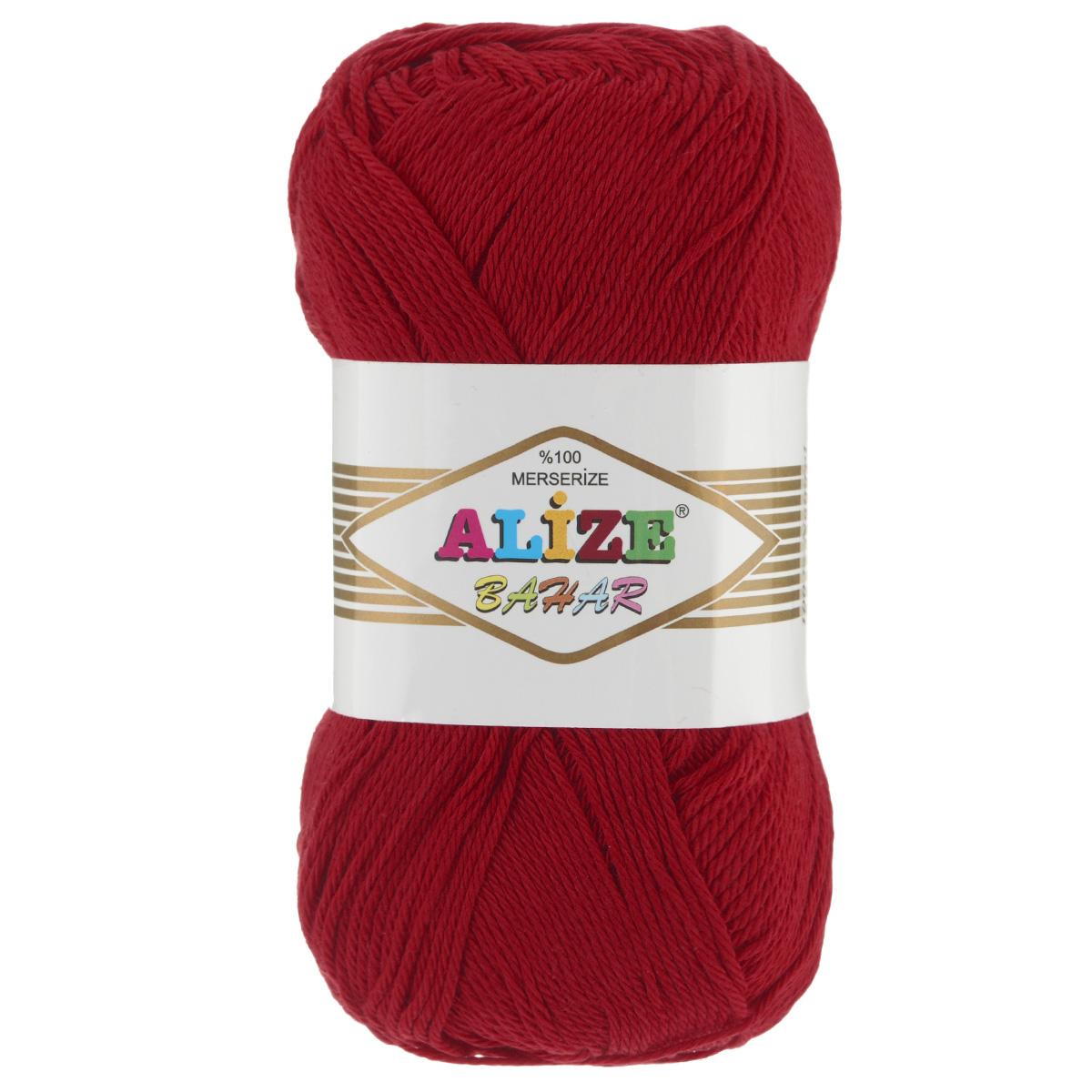 Пряжа для вязания Alize Bahar, цвет: красный (56), 260 м, 100 г, 5 шт364089_56Пряжа Alize Bahar подходит для ручного вязания детям и взрослым. Пряжа однотонная, приятная на ощупь, хорошо лежит в полотне. Изделия из такой нити получаются мягкие и красивые. Рекомендованные спицы 3-5 мм и крючок для вязания 2-4 мм. Комплектация: 5 мотков. Состав: 100% хлопок.