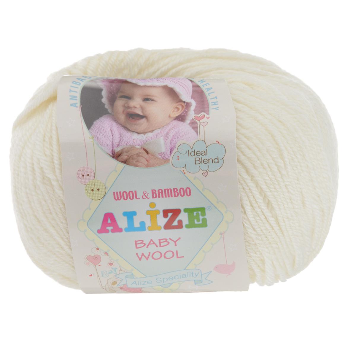 Пряжа для вязания Alize Baby Wool, цвет: молочный (62), 175 м, 50 г, 10 шт686501_62Детская пряжа для вязания Alize Baby Wool изготовлена из очень мягкой и высококачественной натуральной шерсти и бамбука. Из пряжи Baby Wool получается тонкий, но очень теплый трикотаж для ребенка. Акрил в составе нитей допускает легкую машинную стирку вещей. Цветовая палитра включает в себя комбинации, которые подходят как для мальчиков, так и для девочек. Рекомендуемые для вязания спицы 2,5-4 мм и крючки 1-3 мм. Состав: 40% шерсть, 40% акрил, 20% бамбук.