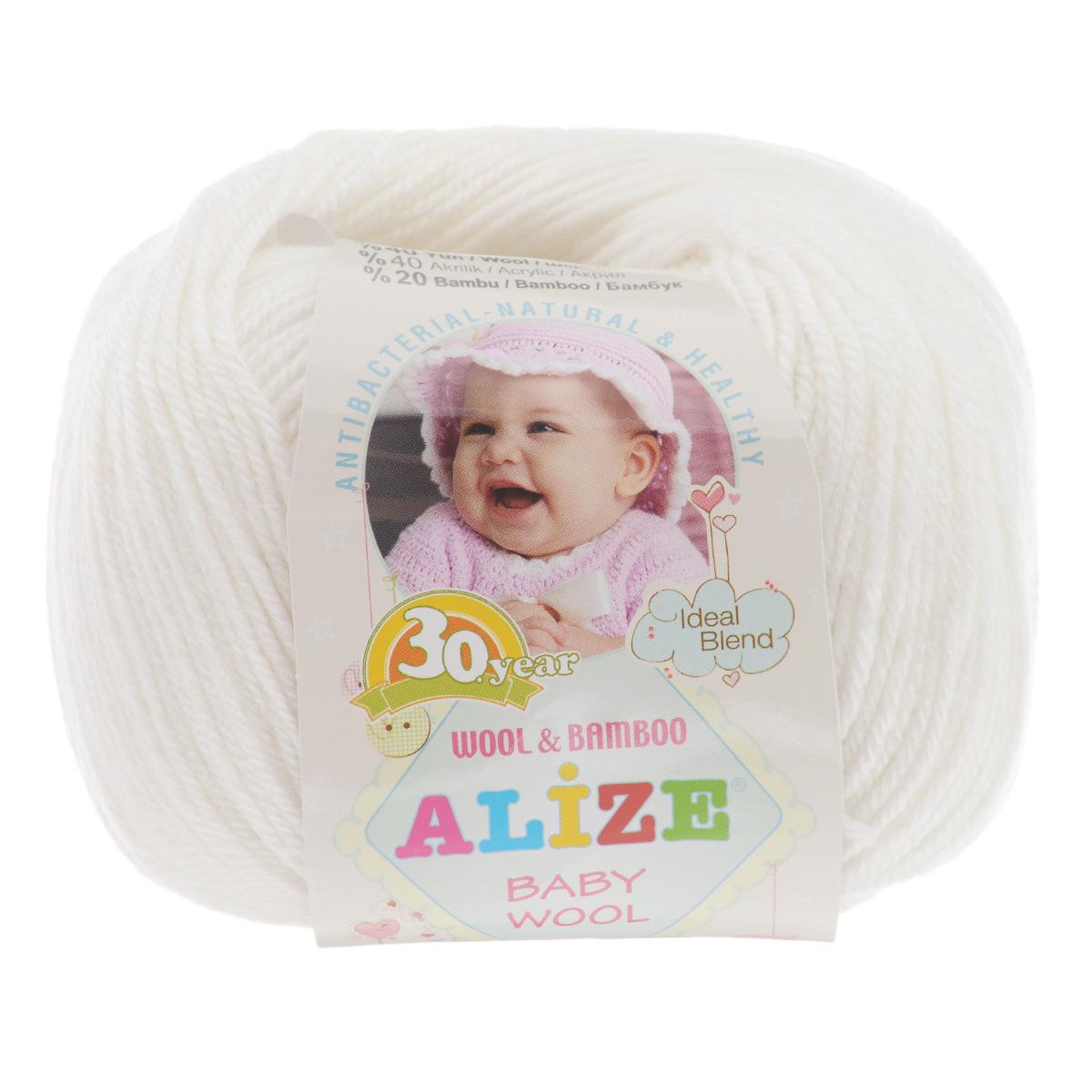 Пряжа для вязания Alize Baby Wool, цвет: белый (55), 175 м, 50 г, 10 шт686501_55Детская пряжа для вязания Alize Baby Wool изготовлена из очень мягкой и высококачественной натуральной шерсти и бамбука. Из пряжи Baby Wool получается тонкий, но очень теплый трикотаж для ребенка. Акрил в составе нитей допускает легкую машинную стирку вещей. Цветовая палитра включает в себя комбинации, которые подходят как для мальчиков, так и для девочек. Рекомендуемые для вязания спицы 2,5-4 мм и крючки 1-3 мм. Состав: 40% шерсть, 40% акрил, 20% бамбук.