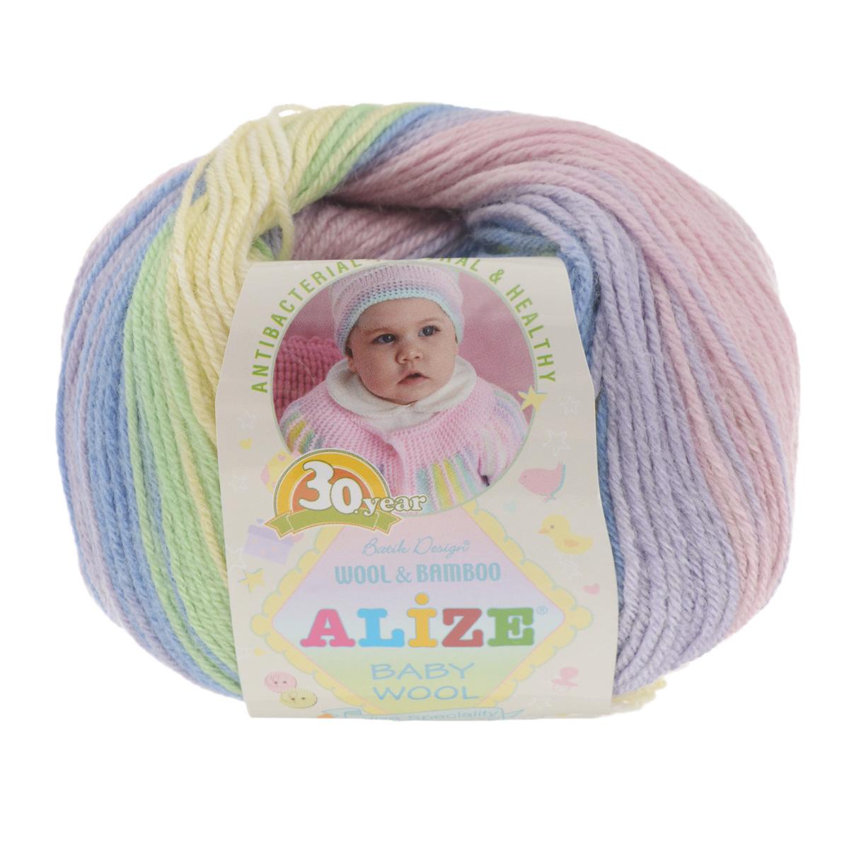 Пряжа для вязания Alize Baby wool batik design, цвет: розовый, белый, зеленый (4004), 175 м, 50 г, 10 шт372104_4004Пряжа Alize Baby wool batik design - это пряжа для ручного вязания детям, состоящая из 40% шерсти, 40% акрила и 20% бамбука. Классическая пряжа, мягкая и шелковистая на ощупь, секционного крашения с длинными переходами цветов. Рекомендованные для вязания спицы 2,5-4 мм и крючки 1-3 мм. Состав: 40% шерсть, 40% акрил, 20% бамбук.