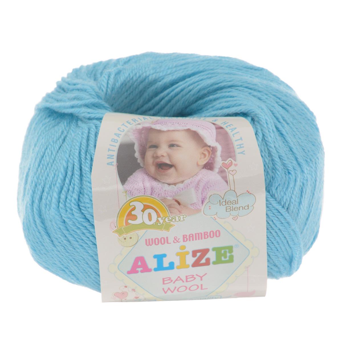 Пряжа для вязания Alize Baby Wool, цвет: голубой (128), 175 м, 50 г, 10 шт686501_128Детская пряжа для вязания Alize Baby Wool изготовлена из очень мягкой и высококачественной натуральной шерсти и бамбука. Из пряжи Baby Wool получается тонкий, но очень теплый трикотаж для ребенка. Акрил в составе нитей допускает легкую машинную стирку вещей. Цветовая палитра включает в себя комбинации, которые подходят как для мальчиков, так и для девочек. Рекомендуемые для вязания спицы 2,5-4 мм и крючки 1-3 мм. Состав: 40% шерсть, 40% акрил, 20% бамбук.