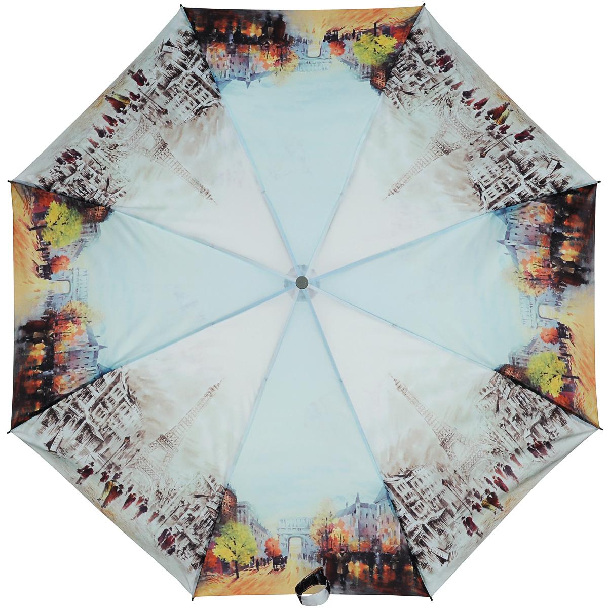 Зонт женский Zest, автомат, 3 сложения. 239455-18239455-18Женский автоматический зонт Zest в 3 сложения даже в ненастную погоду позволит вам оставаться стильной и элегантной. Каркас зонта состоит из 8 спиц из фибергласса и прочного стального стержня. Специальная система Windproof защищает его от поломок во время сильных порывов ветра. Купол зонта выполнен из прочного полиэстера с водоотталкивающей пропиткой и оформлен изображением улиц Парижа осенью. Используемые высококачественные красители, а также покрытие Teflon обеспечивают длительное сохранение свойств ткани купола. Рукоятка, разработанная с учетом требований эргономики, выполнена из приятного на ощупь прорезиненного пластика серого цвета. Зонт имеет полный автоматический механизм сложения: купол открывается и закрывается нажатием кнопки на рукоятке, стержень складывается вручную до характерного щелчка, благодаря чему открыть и закрыть зонт можно одной рукой, что чрезвычайно удобно при входе в транспорт или помещение. На рукоятке для удобства есть небольшой шнурок,...
