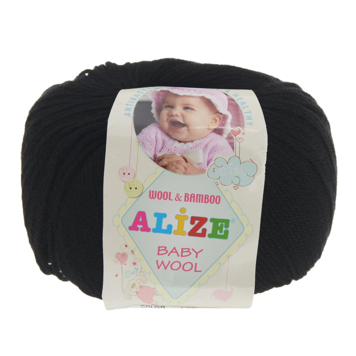 Пряжа для вязания Alize Baby Wool, цвет: черный (60), 175 м, 50 г, 10 шт686501_60Детская пряжа для вязания Alize Baby Wool изготовлена из очень мягкой и высококачественной натуральной шерсти и бамбука. Из пряжи Baby Wool получается тонкий, но очень теплый трикотаж для ребенка. Акрил в составе нитей допускает легкую машинную стирку вещей. Цветовая палитра включает в себя комбинации, которые подходят как для мальчиков, так и для девочек. Рекомендуемые для вязания спицы 2,5-4 мм и крючок 1-3 мм. Состав: 40% шерсть, 40% акрил, 20% бамбук.