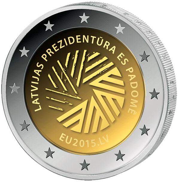 Монета номиналом 2 евро Представительство Латвии в ЕС. Латвия, 2015 год401306Диаметр: 2,6 см. Тираж: 2 млн. шт. Материал: бимелалл Сохранность: UNC (без обращения).
