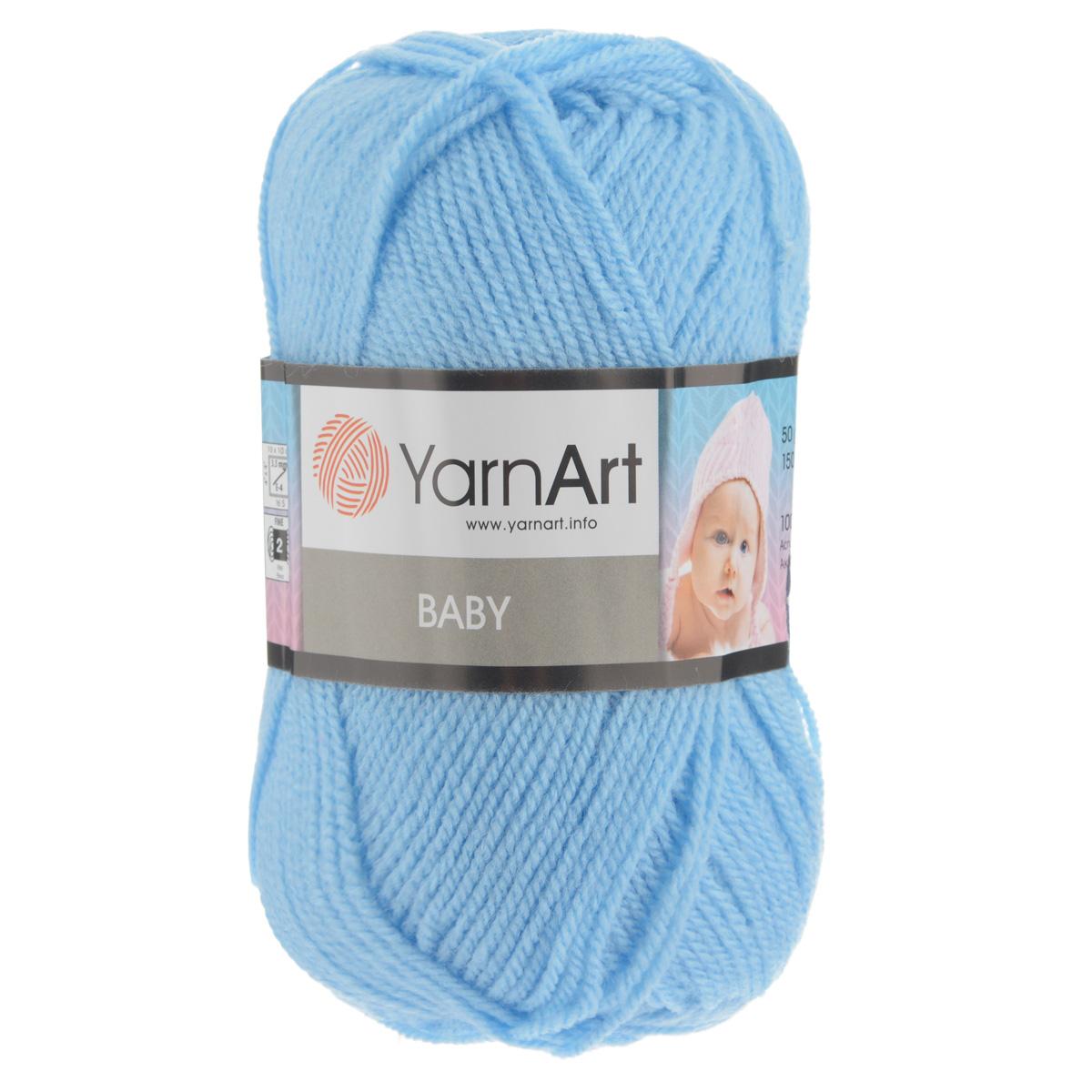 Пряжа для вязания YarnArt Baby, цвет: светло-голубой (215), 150 м, 50 г, 5 шт372023_215Детская пряжа для вязания YarnArt Baby изготовлена из высококачественного 100% акрила. Из пряжи YarnArt Baby получается тонкий и теплый трикотаж для ребенка. Допускается легкая машинная стирка вещей. Цветовая палитра из ярких цветов подходит как для мальчиков, так и для девочек. Рекомендуется для вязания на крючках и спицах 3,5 мм. Состав: 100% акрил.