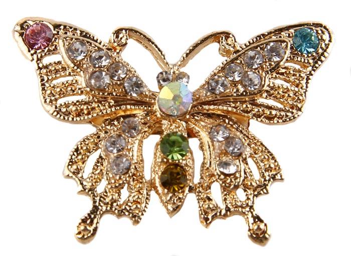Брошь Блестящая бабочка. Бижутерный сплав, австрийские кристаллы. Начало ХХI века30027400Брошь Блестящая бабочка. Бижутерный сплав, австрийские кристаллы. Западная Европа, начало ХХI века. Сохранность хорошая. Размер: 5 см на 4 см. Мимо такой броши невозможно пройти , не обратив на нее и ее владелицу внимание. Яркая, сочная, насыщенная, как весенний день. Брошь украшена крупными австрийскими кристаллами Blue, Rose, Green, Gold и множеством мелких Crystal, которые переливаются под лучами солнца. Красивое украшение для прекрасных леди.