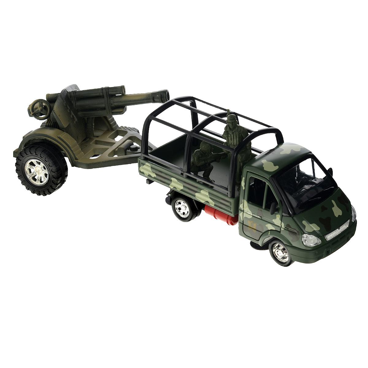 ТехноПарк Модель автомобиля Газель с пушкойGAZKUNG07-R_с пушкойКоллекционная модель ТехноПарк Газель с пушкой выполнена в виде точной копии военной машины с пушкой в масштабе 1/43. Такая модель понравится не только ребенку, но и взрослому коллекционеру, и приятно удивит высочайшим качеством исполнения. Кабина газели выполнена из металла, кузов из пластика, а лобовое стекло из прозрачного пластика. Двери автомобиля открываются. Машинка оснащена инерционным механизмом: стоит откатить игрушку назад, затем отпустить - и она молниеносно поедет вперед. Прорезиненные колеса обеспечивают надежное сцепление с любой поверхностью пола. Пушка с вращающимися колесами выполнена из пластика, ее можно отсоединить от газели. В набор также входят 2 фигурки солдат. Коллекционная модель отличается великолепным качеством исполнения и детальной проработкой, она станет не только интересной игрушкой для ребенка, интересующегося военной техникой, но и займет достойное место в коллекции.
