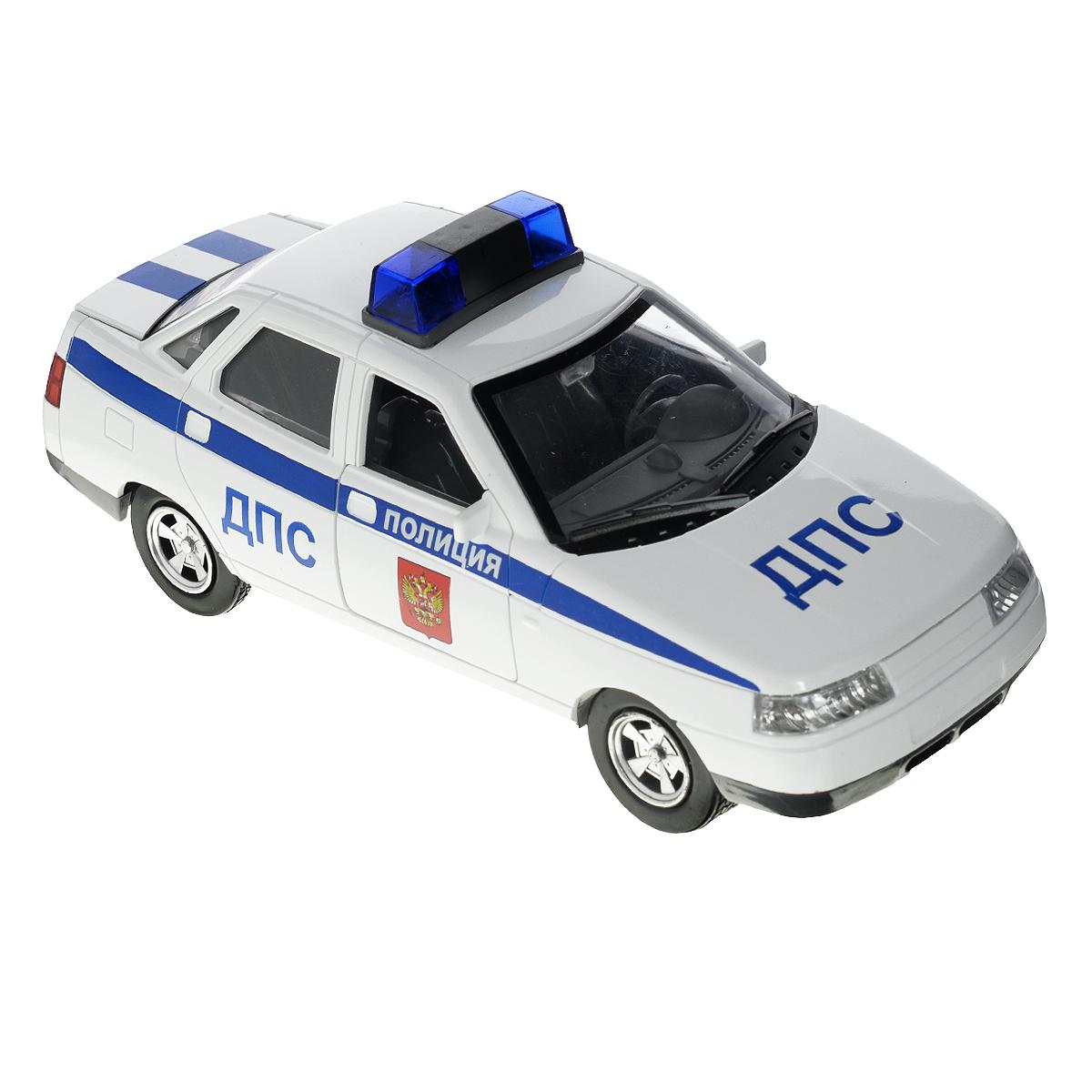 ТехноПарк Машинка инерционная Lada 110 ДПС цвет белый синийA553-H11060Машинка ТехноПарк Lada 110: Полиция (ДПС), выполненная из безопасного пластика в виде полицейской машины, станет любимой игрушкой вашего малыша. У машины открываются передние двери и багажник. При нажатии кнопки на корпусе машины начинает светиться мигалка под звуки, характерные для ситуации. Игрушка оснащена инерционным ходом. Машинку необходимо отвести назад, затем отпустить - и она быстро поедет вперед. Прорезиненные колеса обеспечивают надежное сцепление с любой поверхностью пола. Ваш ребенок будет часами играть с этой машинкой, придумывая различные истории. Порадуйте его таким замечательным подарком! Рекомендуется докупить 3 батарейки напряжением 1,5V типа LR44 (товар комплектуется демонстрационными).