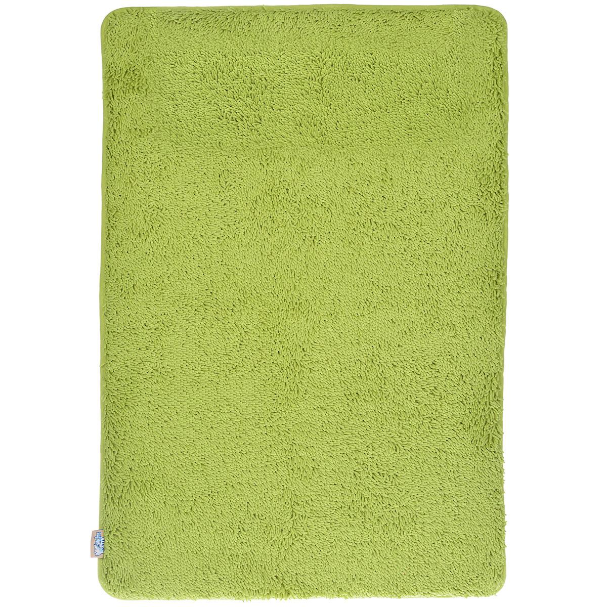 "Коврик для ванной White Fox ""Relax"", цвет: зеленый, 60 см х 90 см"