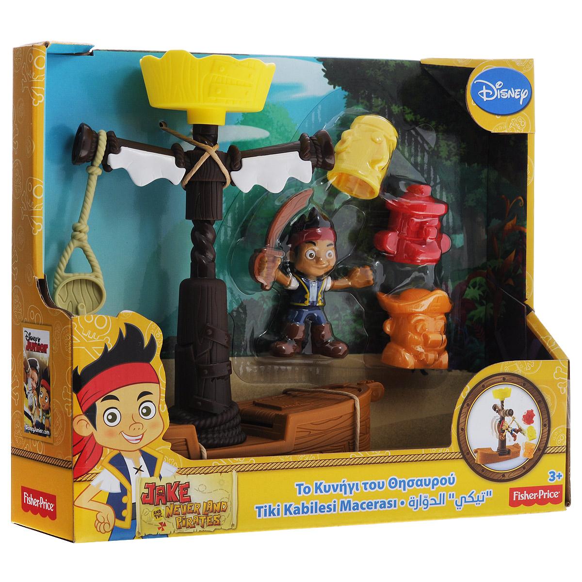 Jake&Neverland Pirates Игровой набор Вращающиеся тикиCCY75/CBC64Игровой набор Jake & Neverland Pirates Вращающиеся тики не позволит скучать вашему непоседе. Он выполнен из безопасного яркого пластика и включает игрушку в виде верхней части судна (палубу с мачтой), фигурку Джейка с мечом в руке и три фигурки в виде голов пиратов. Вращающаяся верхняя часть мачты оснащена веревкой с крюком. На веревку можно установить фигурку Джека. В палубе имеется открывающийся отсек. Ваш ребенок с удовольствием будет играть вместе с любимым героем, придумывая увлекательные истории. Порадуйте его таким замечательным подарком!