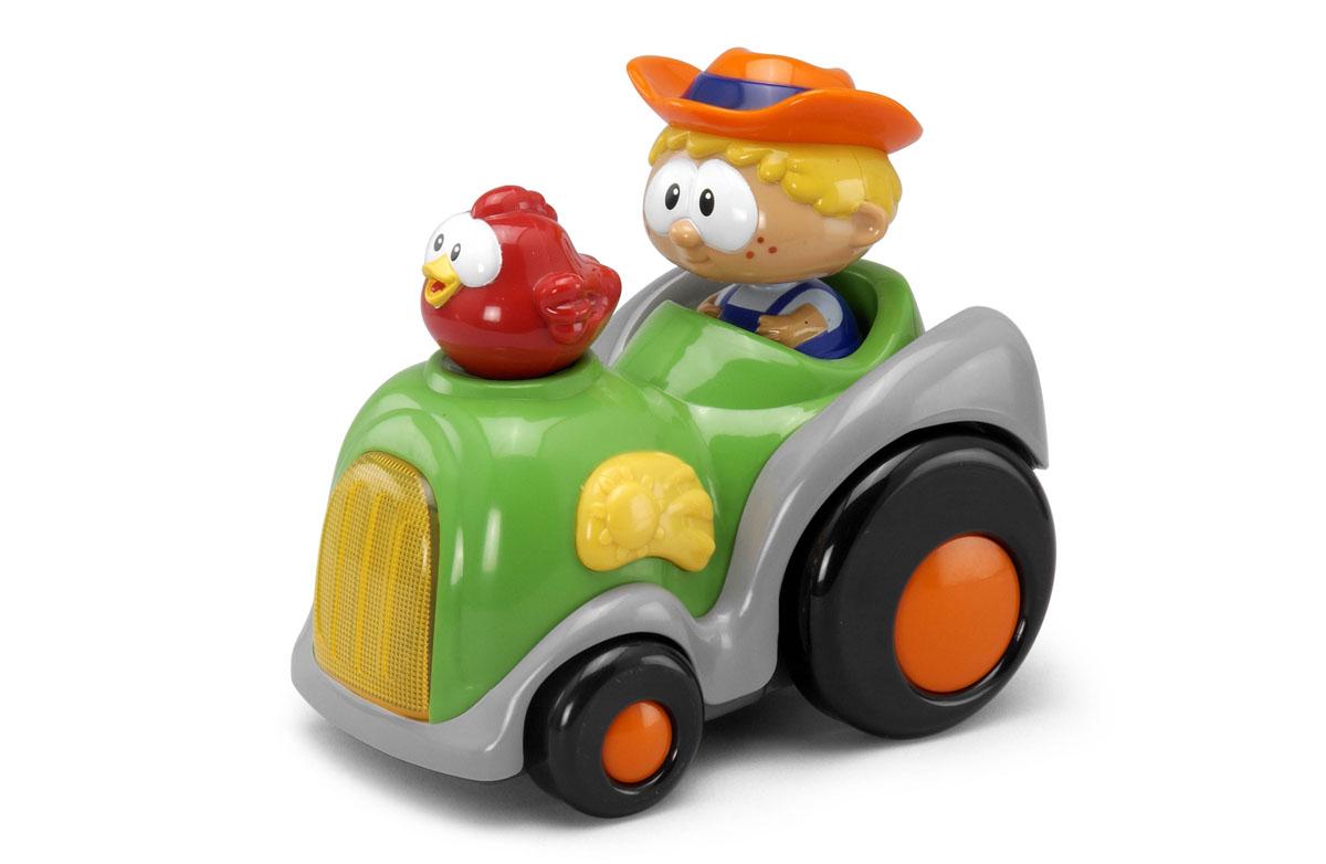 Shelcore Игрушка Shake N Bobbles. Tractor82489Яркая игрушка Shelcore Shake N Bobbles. Tractor выполнена из прочного безопасного пластика в виде трактора с фигурками водителя и курочки. При нажатии на голову водителя трактор срывается с места. При этом мигает фара, раздаются кукареканье и веселая мелодия. Такая машинка позабавит кроху, а также поможет развить цветовое и звуковое восприятие и координацию движений. Рекомендуется докупить 3 батарейки напряжением 1,5V типа АА (товар комплектуется демонстрационными). УВАЖАЕМЫЕ КЛИЕНТЫ! Обращаем ваше внимание на допустимые незначительные изменения в дизайне товара - некоторые детали могут отличаться по цвету от товара, изображенного на фотографии.