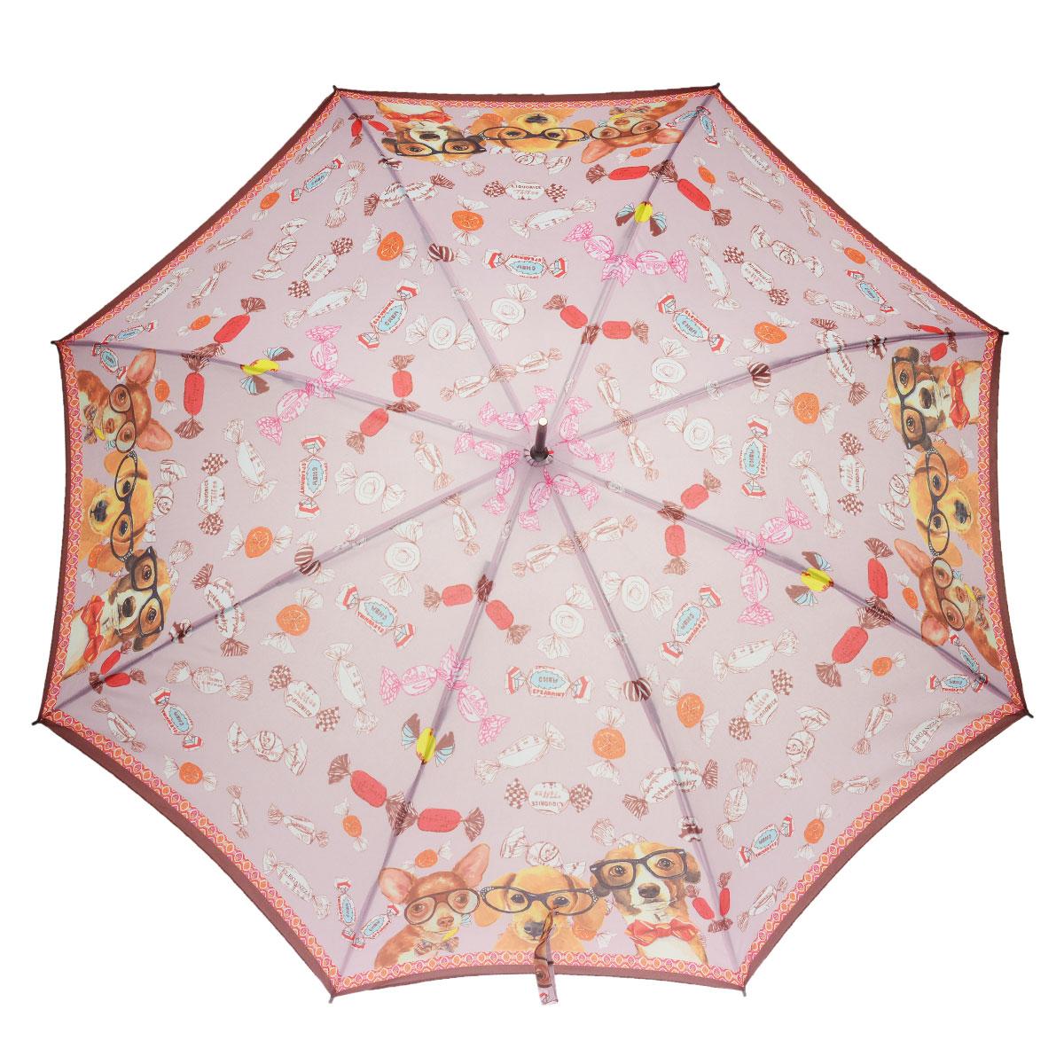 Зонт-трость женский Eleganzza, полуавтомат, цвет: коричневый, розовый. T-06-0298T-06-0298Стильный полуавтоматический зонт-трость Eleganzza даже в ненастную погоду позволит вам оставаться элегантной. Каркас зонта выполнен из 8 спиц из фибергласса, стержень стальной. Купол зонта изготовлен прочного полиэстера и эпонжа, украшен ироничным принтом. Закрытый купол застегивается на кнопку хлястиком с фирменной символикой на металлическом декоративном элементе. Эффектная глянцевая рукоятка закругленной формы разработана с учетом требований эргономики и выполнена из акрила. Зонт имеет полуавтоматический механизм сложения: купол открывается нажатием кнопки на рукоятке, а закрывается вручную до характерного щелчка. Такой зонт не только надежно защитит вас от дождя, но и станет стильным аксессуаром.