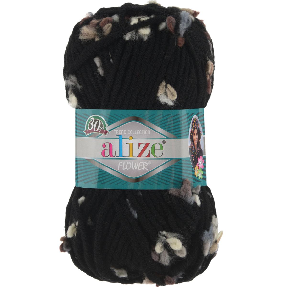 Пряжа для вязания Alize Flower, цвет: черный, бежевый, голубой (5085), 80 м, 100 г, 5 шт693451_5085Пряжа для вязания Alize Flower - это однотонная ровная нить, которая состоит из шерсти и акрила, с пришитыми по всей длине маленькими шерстяными разноцветными цветочками. Скручена нитка слабо, цветочки друг от друга находятся на одинаковом расстоянии и крепятся одной из ниток довольно прочно. Пряжа достаточно комфортная, и приятная, легко распускается и позволяет перевязывать изделия, если вы аккуратно обходились с цветочками. Нитки прочные, сохраняют свою скрученность, не расслаиваются. Эта оригинальная пряжа будет хорошо смотреться на всевозможных детских изделиях - жилетах, платьицах, а также хорошо ею вязать шапки, шарфы, снуды. Предназначена для ручного вязания спицами, теплая и мягкая. Рекомендованные спицы № 7-10, крючок № 6-7. Состав: 70% акрил, 25% шерсть, 5% полиамид.