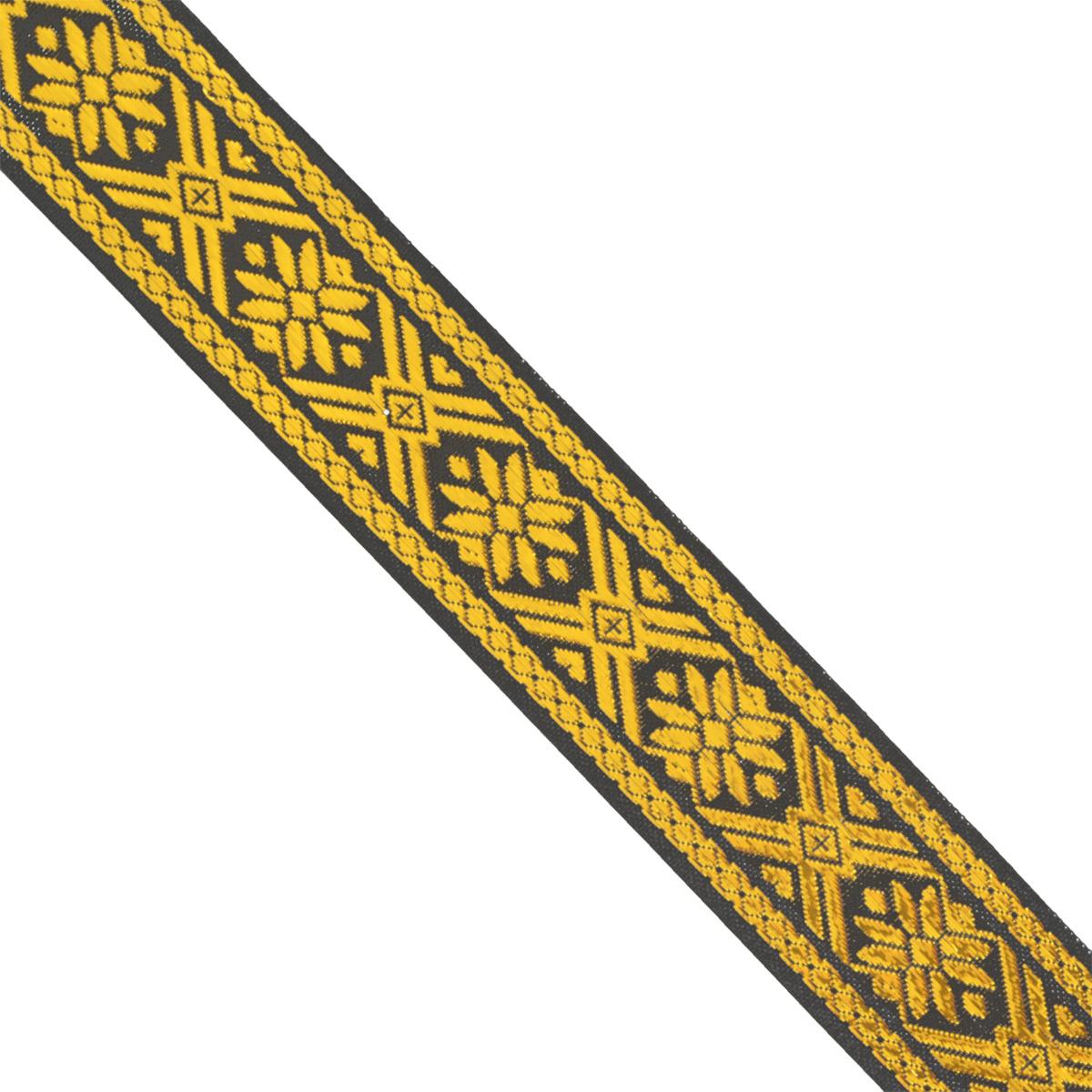 Тесьма декоративная Астра, цвет: черный, ширина 3 см, длина 32,8 м. 77033647703364_черный/золотоДекоративная тесьма Астра выполнена из текстиля и оформлена оригинальным орнаментом. Такая тесьма идеально подойдет для оформления различных творческих работ таких, как скрапбукинг, аппликация, декор коробок и открыток и многое другое. Тесьма наивысшего качества и практична в использовании. Она станет незаменимым элементом в создании рукотворного шедевра. Ширина: 3 см. Длина: 32,8 м.
