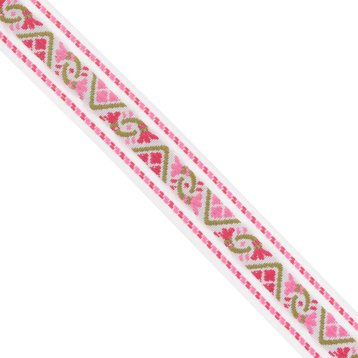 Тесьма декоративная Астра, цвет: розовый, ширина 2 см, длина 16,4 м. 77033037703303Декоративная тесьма Астра выполнена из текстиля и оформлена оригинальным орнаментом. Такая тесьма идеально подойдет для оформления различных творческих работ таких, как скрапбукинг, аппликация, декор коробок и открыток и многое другое. Тесьма наивысшего качества и практична в использовании. Она станет незаменимым элементом в создании рукотворного шедевра. Ширина: 2 см. Длина: 16,4 м.