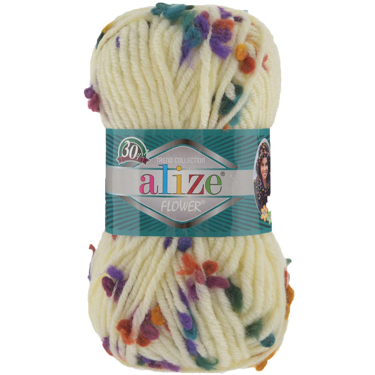 """Пряжа для вязания Alize """"Flower"""", цвет: молочный, зеленый, фиолетовый (5073), 80 м, 100 г, 5 шт"""