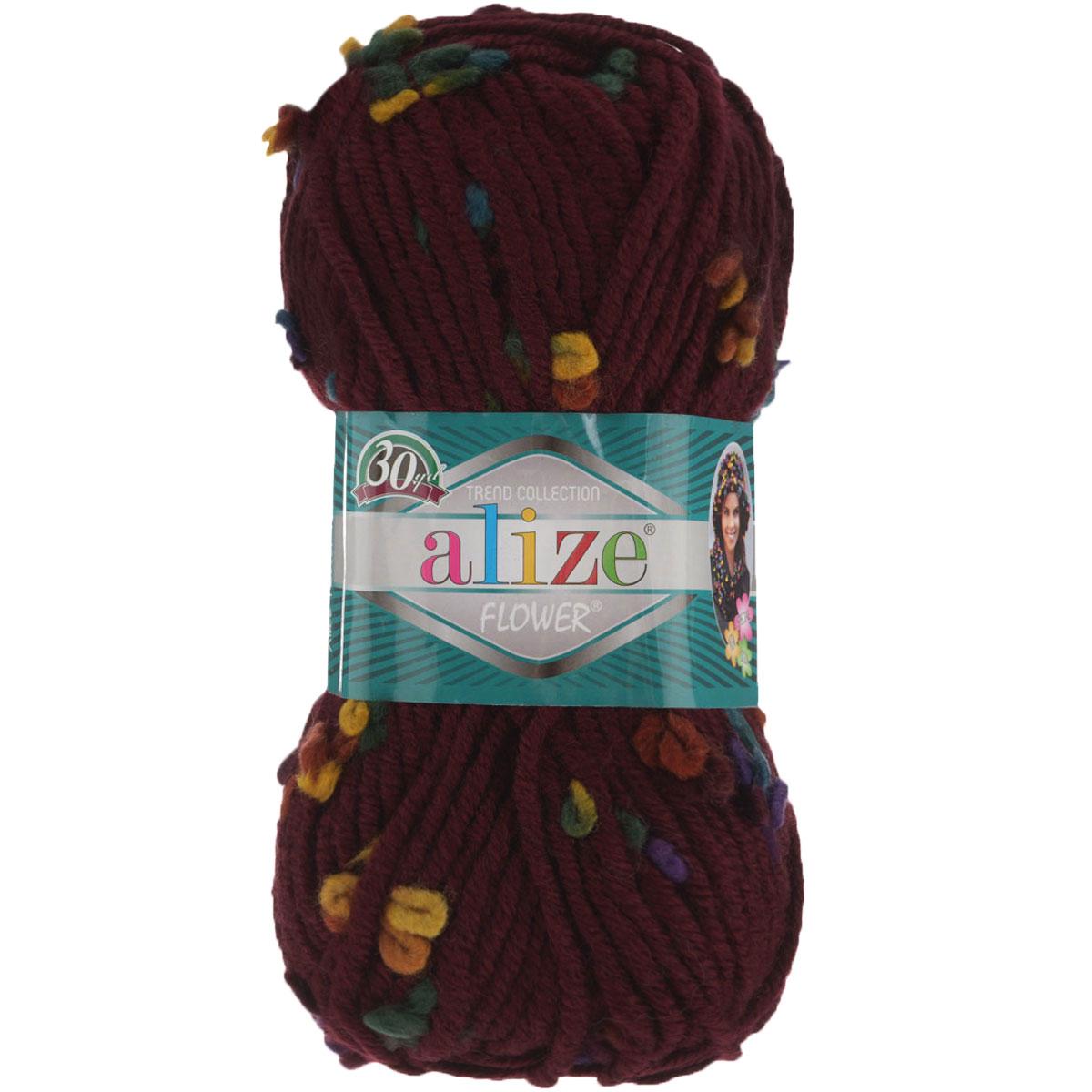 Пряжа для вязания Alize Flower, цвет: бордовый, зеленый, желтый (5082), 80 м, 100 г, 5 шт693451_5082Пряжа для вязания Alize Flower - это однотонная ровная нить, которая состоит из шерсти и акрила, с пришитыми по всей длине маленькими шерстяными разноцветными цветочками. Скручена нитка слабо, цветочки друг от друга находятся на одинаковом расстоянии и крепятся одной из ниток довольно прочно. Пряжа достаточно комфортная, и приятная, легко распускается и позволяет перевязывать изделия, если вы аккуратно обходились с цветочками. Нитки прочные, сохраняют свою скрученность, не расслаиваются. Эта оригинальная пряжа будет хорошо смотреться на всевозможных детских изделиях - жилетах, платьицах, а также хорошо ею вязать шапки, шарфы, снуды. Предназначена для ручного вязания спицами, теплая и мягкая. Рекомендованные спицы № 7-10, крючок № 6-7. Состав: 70% акрил, 25% шерсть, 5% полиамид.
