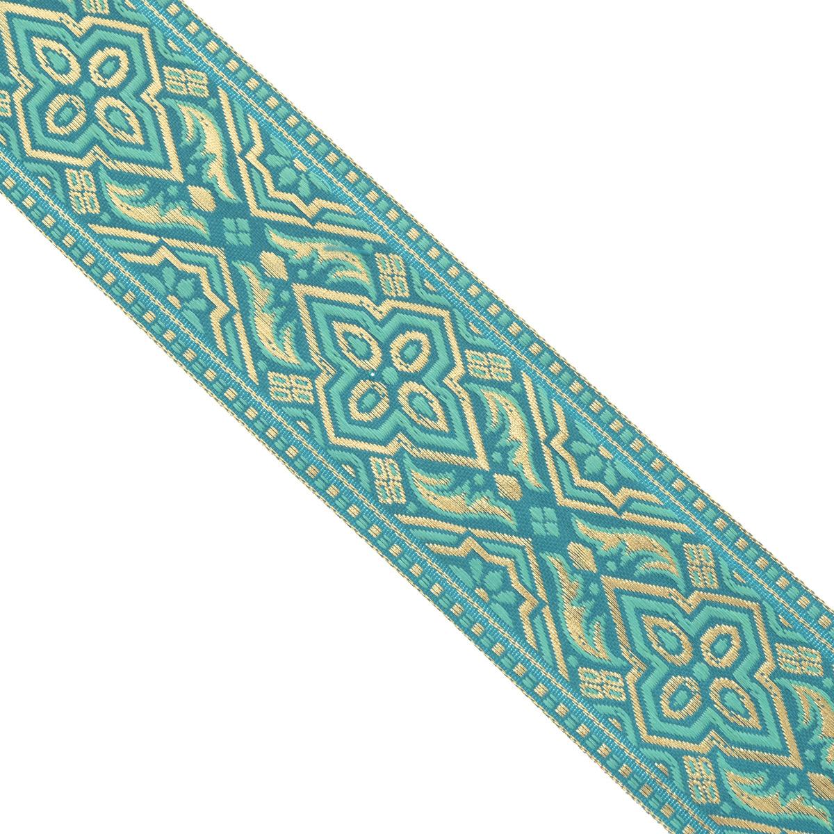 Тесьма декоративная Астра, цвет: бирюзовый, ширина 4 см, длина 16,4 м. 77033937703393Декоративная тесьма Астра выполнена из текстиля и оформлена оригинальным орнаментом. Такая тесьма идеально подойдет для оформления различных творческих работ таких, как скрапбукинг, аппликация, декор коробок и открыток и многое другое. Тесьма наивысшего качества и практична в использовании. Она станет незаменимым элементом в создании рукотворного шедевра. Ширина: 4 см. Длина: 16,4 м.