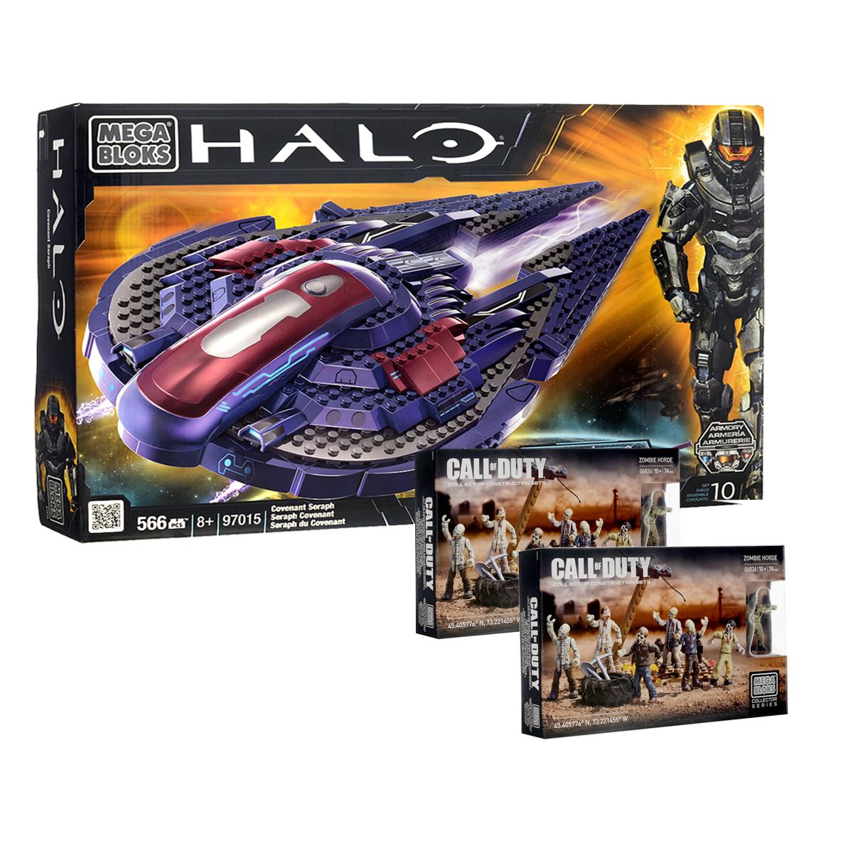 Mega Bloks Halo Конструктор Звездный истребитель + подарок набор Call of DutyN_97015(06814)Набор-конструктор Mega Bloks Звездный истребитель Halo поможет вашему ребенку перенестись в таинственный мир, полный опасностей и приключений! Набор включает в себя 566 ярких пластиковых элементов, с помощью которых можно собрать звездный истребитель. На построенном звездном истребителе ваш ребенок сможет устраивать захватывающие сражения на просторах таинственного мира. Такой истребитель станет отличным спутником для любой миссии. Также в подарок вы получите 2 набора конструктора Mega Bloks из серии Call of Duty.