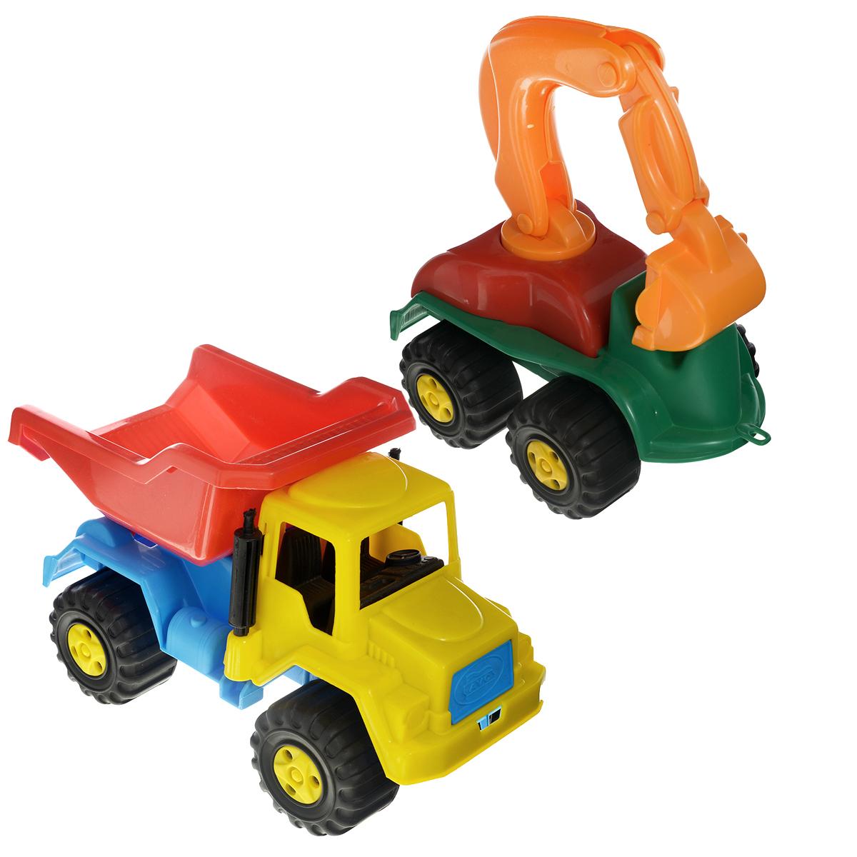 AVC Самосвал с экскаватором01/5125Игрушка AVC Самосвал с экскаватором, выполненная из прочного безопасного пластика, отлично подойдет ребенку для различных игр. С помощью нее ребенку будет удобнее возводить свои шедевры из песка. Кузов самосвала можно опускать и поднимать, поэтому из него будет удобно выгружать груз. В просторную кабину машинки можно посадить небольшую игрушку. Большие крутящиеся колеса обеспечивают игрушке устойчивость и хорошую проходимость. С помощью экскаватора игра станет еще интересней, а ваш малыш сможет почувствовать себя настоящим профессионалом на стройке. Игрушка развивает концентрацию внимания, цветовое восприятие, координацию движений, воображение, а также моторику рук. Ваш ребенок непременно обрадуется новому транспорту в своем игрушечном автопарке. Порадуйте его таким замечательным подарком!