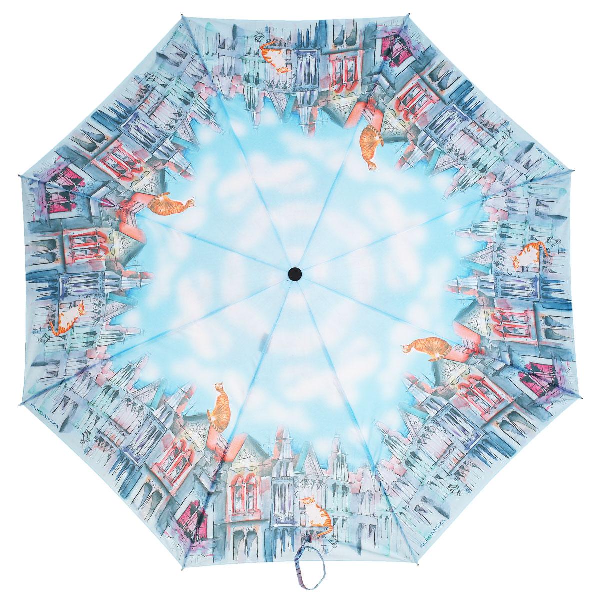 Зонт женский Eleganzza, автомат, 3 сложения, цвет: голубой, оранжевый. A3-05-0281SA3-05-0281SСтильный автоматический зонт Eleganzza в 3 сложения даже в ненастную погоду позволит вам оставаться элегантной. Каркас зонта выполнен из 8 спиц из фибергласса и алюминия, стержень изготовлен из стали, удобная рукоятка - из пластика. Купол зонта выполнен из прочного полиэстера и эпонжа с водоотталкивающей пропиткой. В закрытом виде застегивается хлястиком на кнопке. Дизайн купола зонта выполнен в стиле романтической городской крыши с забавными обитателями - котами. Зонт имеет полный автоматический механизм сложения: купол открывается и закрывается нажатием кнопки на рукоятке, стержень складывается вручную до характерного щелчка, благодаря чему открыть и закрыть зонт можно одной рукой, что чрезвычайно удобно при входе в транспорт или помещение. Каркас зонта оснащен системой Smart, которая не позволяет стержню при сложении вылететь обратно. Это облегчает сложение зонта. При сложении есть характерный звук-треск, как трещетка. Примечание: зонт не откроется с кнопки, если его...