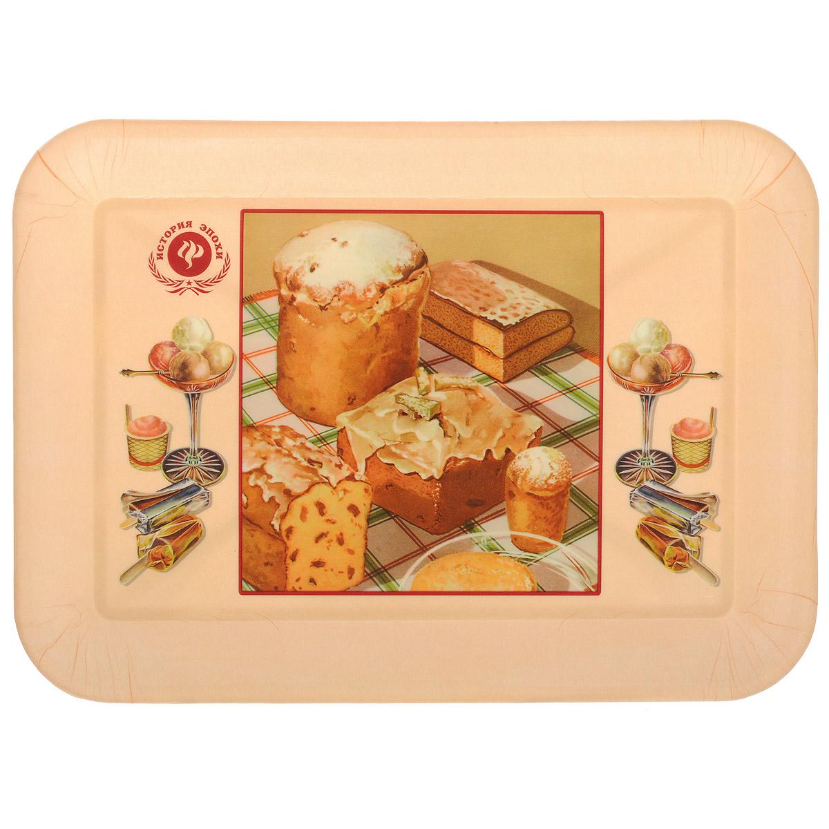 Поднос Феникс-презент Ретро-кексы, 35,5 см х 25,5 см37403Поднос Феникс-презент Ретро-кексы изготовлен из полипропилена. Внутри поднос оформлен рисунком с изображением кексов и разных десертов. Поднос может использоваться как для сервировки, так и для декора кухни. Он прекрасно дополнит интерьер и добавит в обычную обстановку нотки романтики и изящества. Размер подноса: 35,5 см х 25,5 см х 2,3 см. Внутренний размер подноса: 29 см х 19 см х 1,9 см.