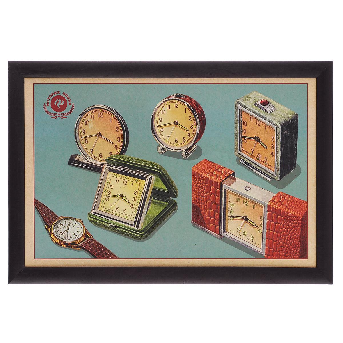 """Поднос-столик Феникс-презент """"Ретро-часы"""", с мягким основанием, 41 х 28 см 37377"""