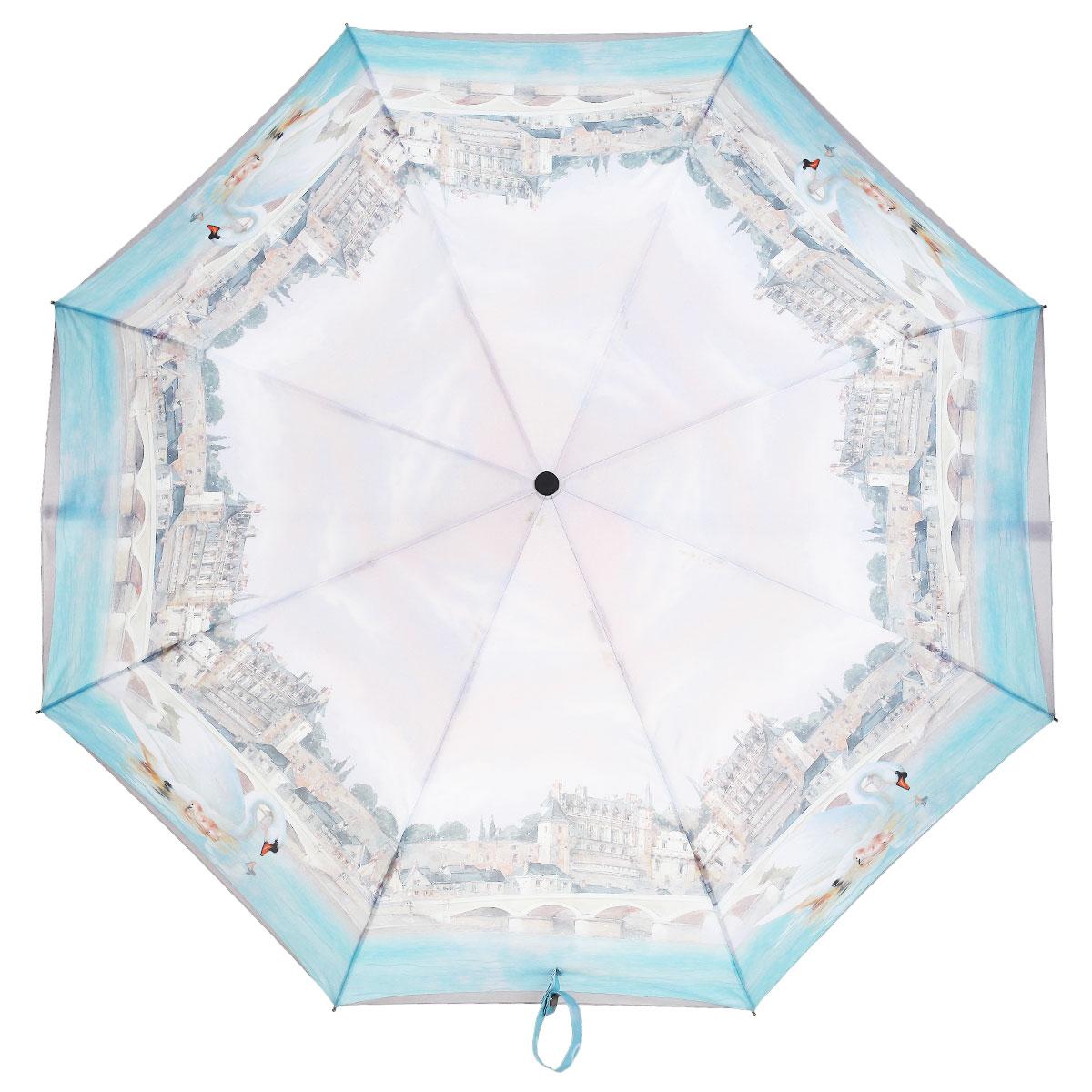 Зонт женский Eleganzza, автомат, 3 сложения, цвет: светло-серый, голубой. A3-05-0276A3-05-0276Стильный автоматический зонт Eleganzza в 3 сложения даже в ненастную погоду позволит вам оставаться элегантной. Каркас зонта выполнен из 8 спиц из фибергласса, стержень изготовлен из стали, удобная рукоятка - из пластика. Купол зонта выполнен из прочного полиэстера и эпонжа с водоотталкивающей пропиткой. В закрытом виде застегивается хлястиком на кнопке. Грациозные лебеди, итальянский городской пейзаж, переливающиеся оттенки голубого цвета... Рисунок этого зонта настроит владелицу на романтический лад. Зонт имеет полный автоматический механизм сложения: купол открывается и закрывается нажатием кнопки на рукоятке, стержень складывается вручную до характерного щелчка, благодаря чему открыть и закрыть зонт можно одной рукой, что чрезвычайно удобно при входе в транспорт или помещение. На рукоятке для удобства есть небольшой шнурок, позволяющий надеть зонт на руку тогда, когда это будет необходимо. К зонту прилагается чехол.